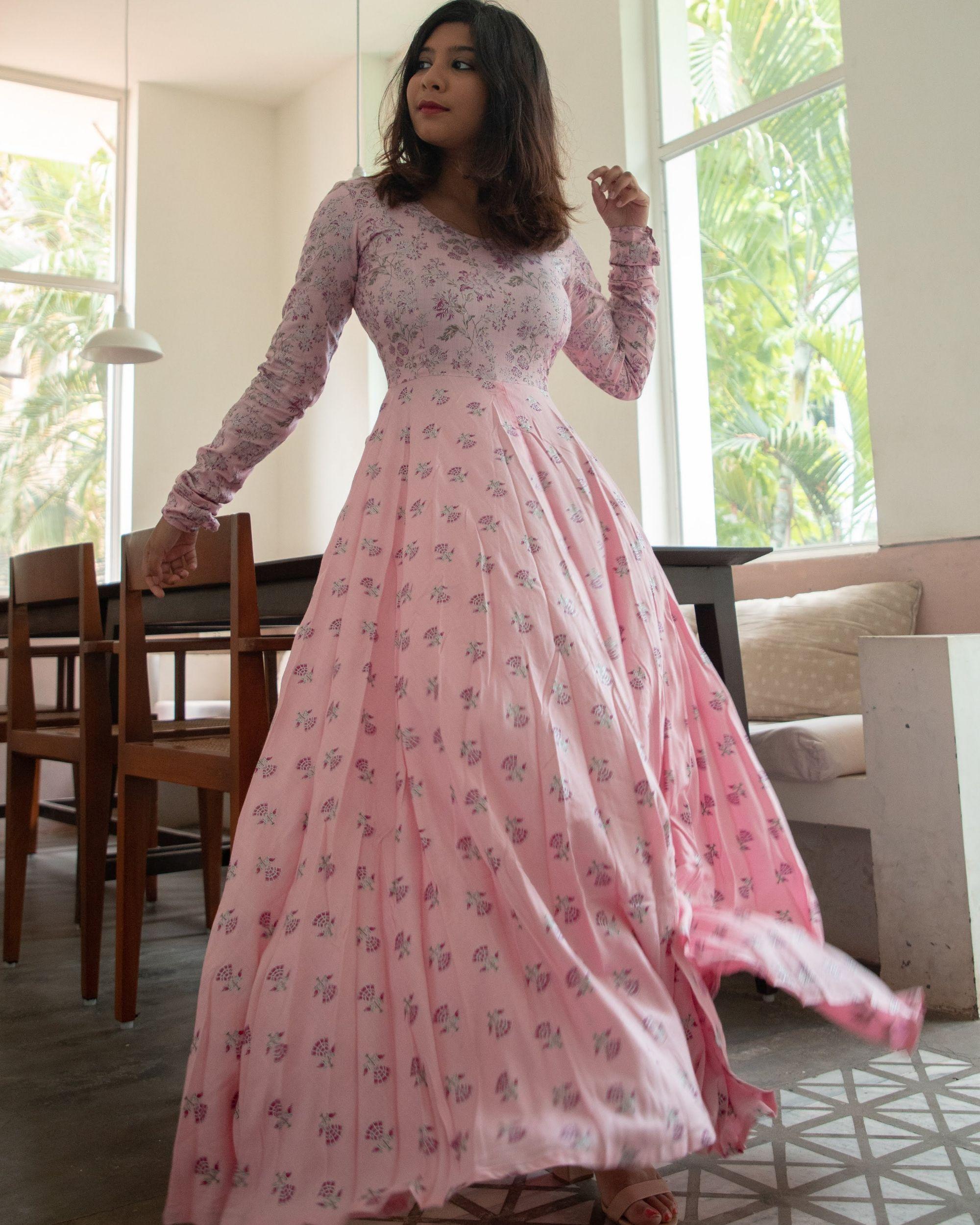 Pastel pink foil floral dress