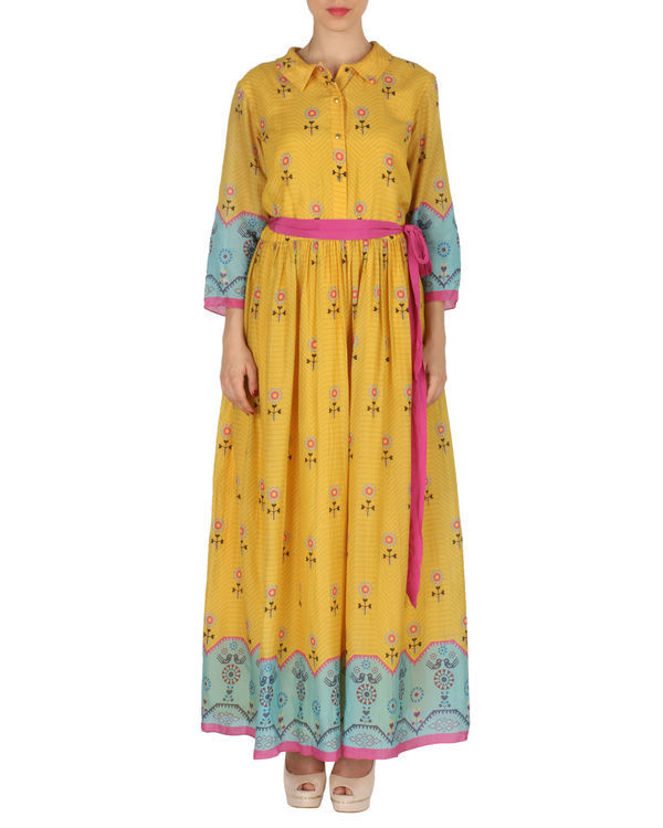 Quirky long dress in yellow and blue