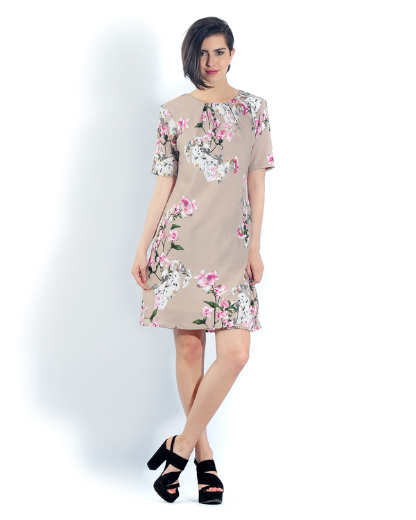 Beige floral pleated bias dress