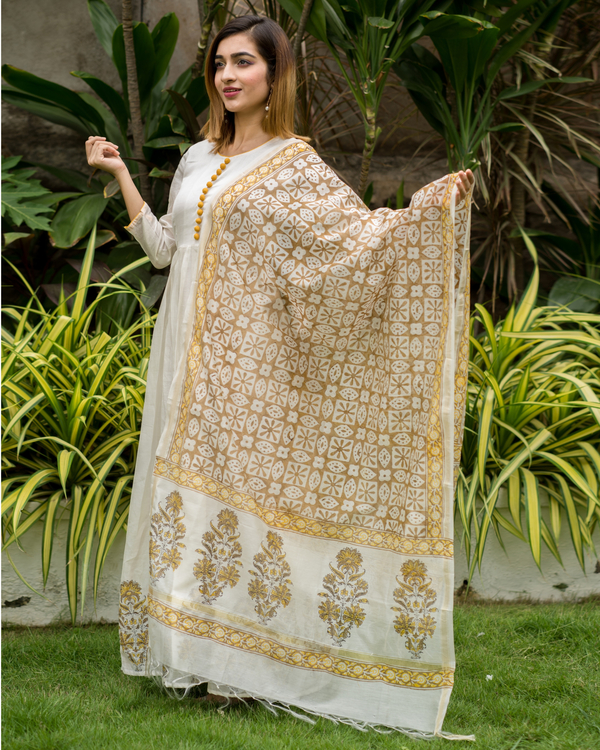 Yellow & beige  box pleated chanderi dress with printed dupatta - Set of Two
