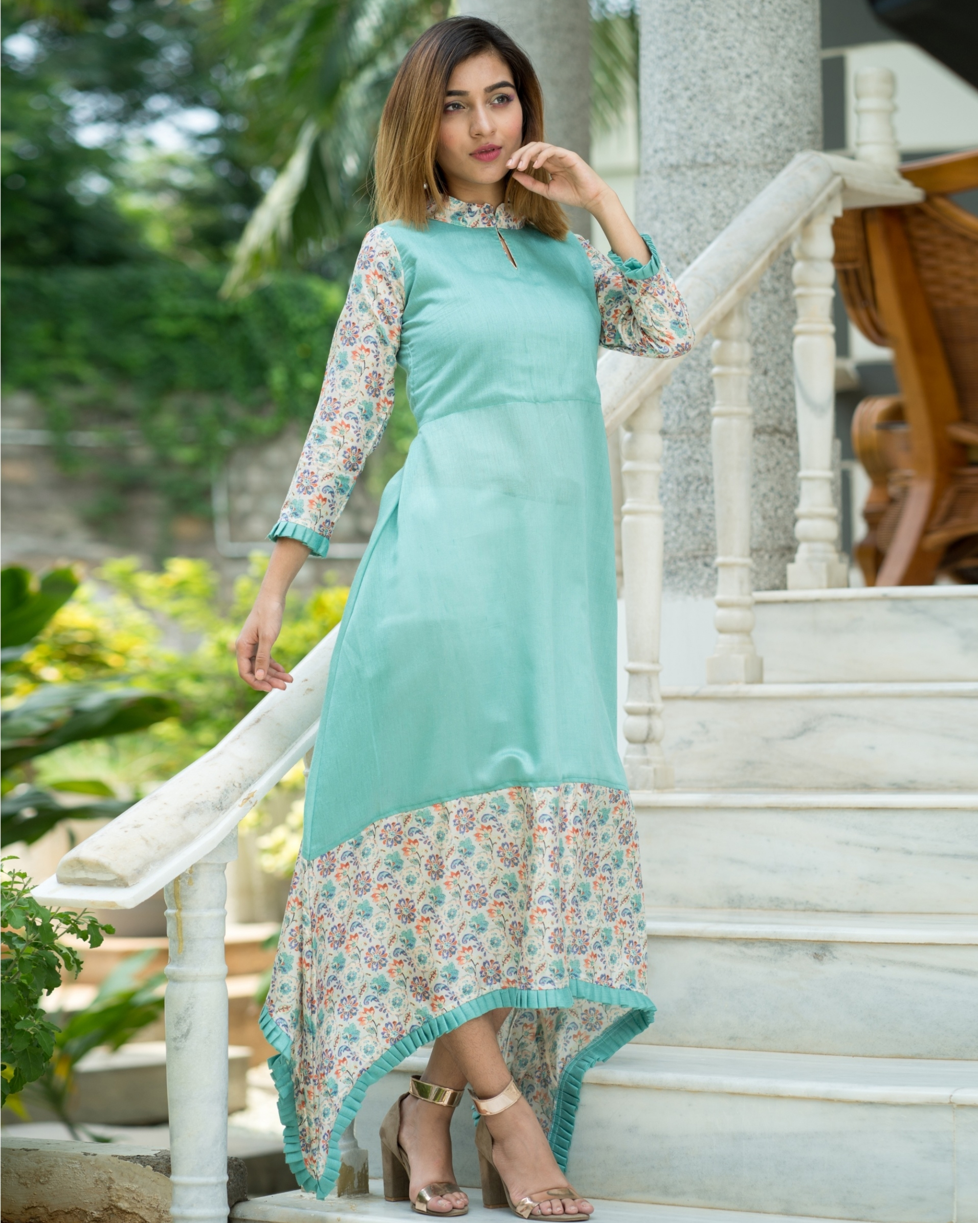 Aqua blue asymmetrical dress