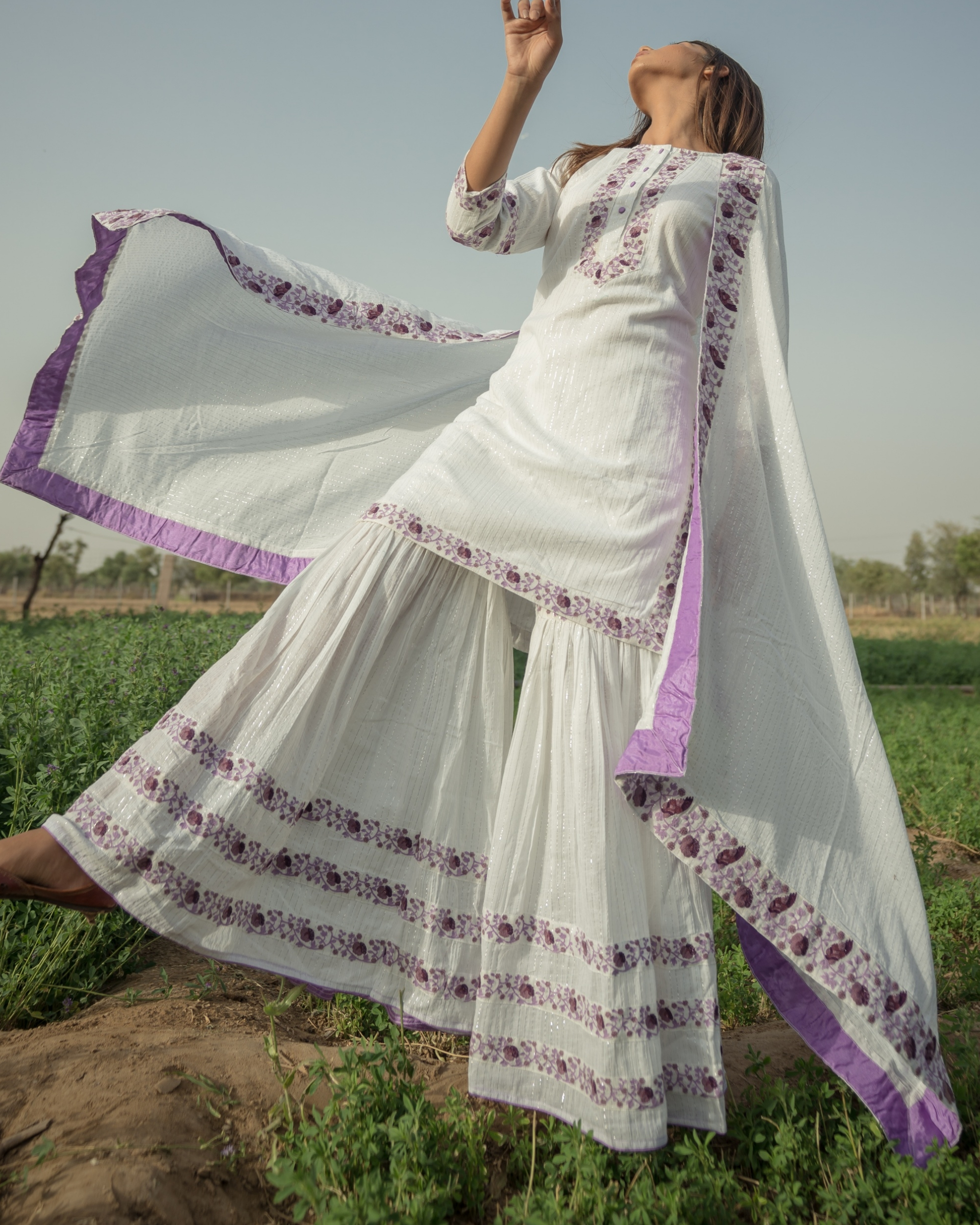 White Sharara Set with purple embroidery - set of three