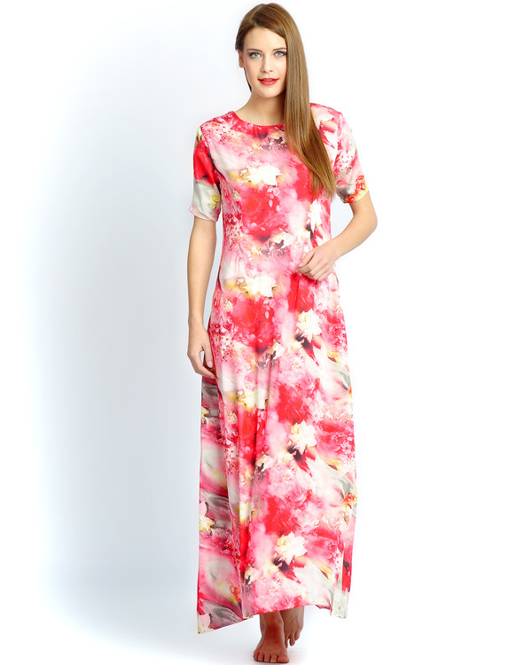 Red floral long gown