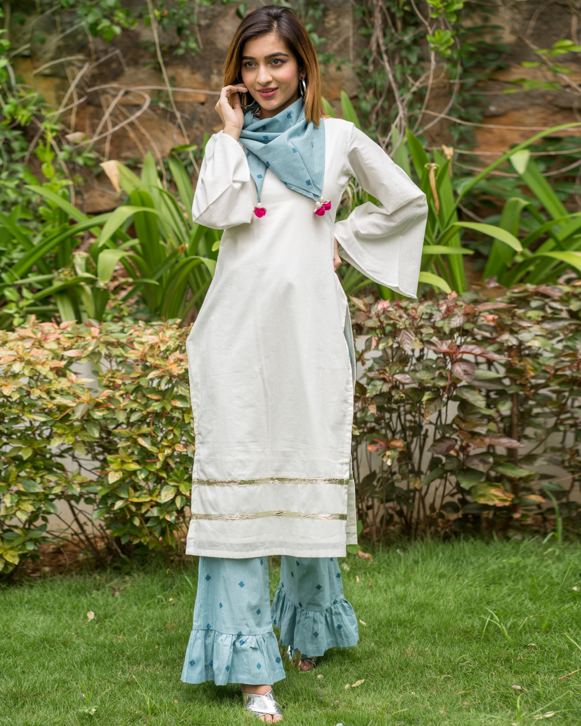 White and blue sharara set with scarf - set of three
