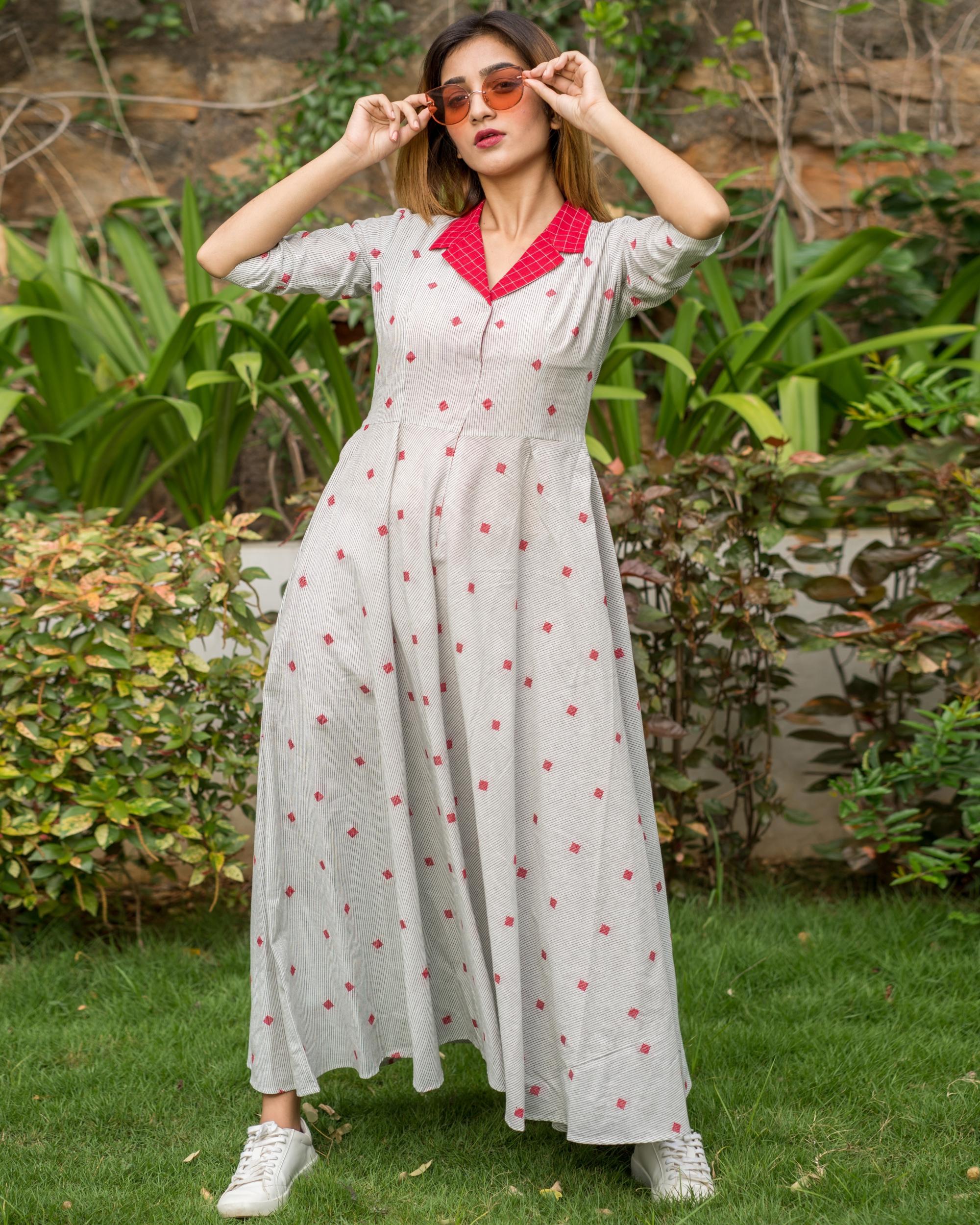 White checkered collar dress