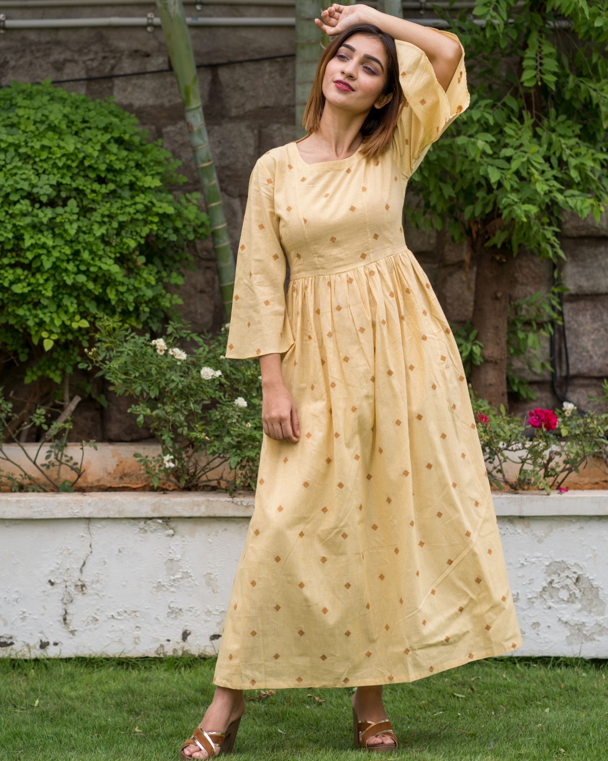 Yellow Bell Sleeves dress with motif