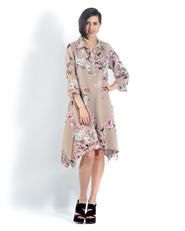 Beige floral long a line shirt