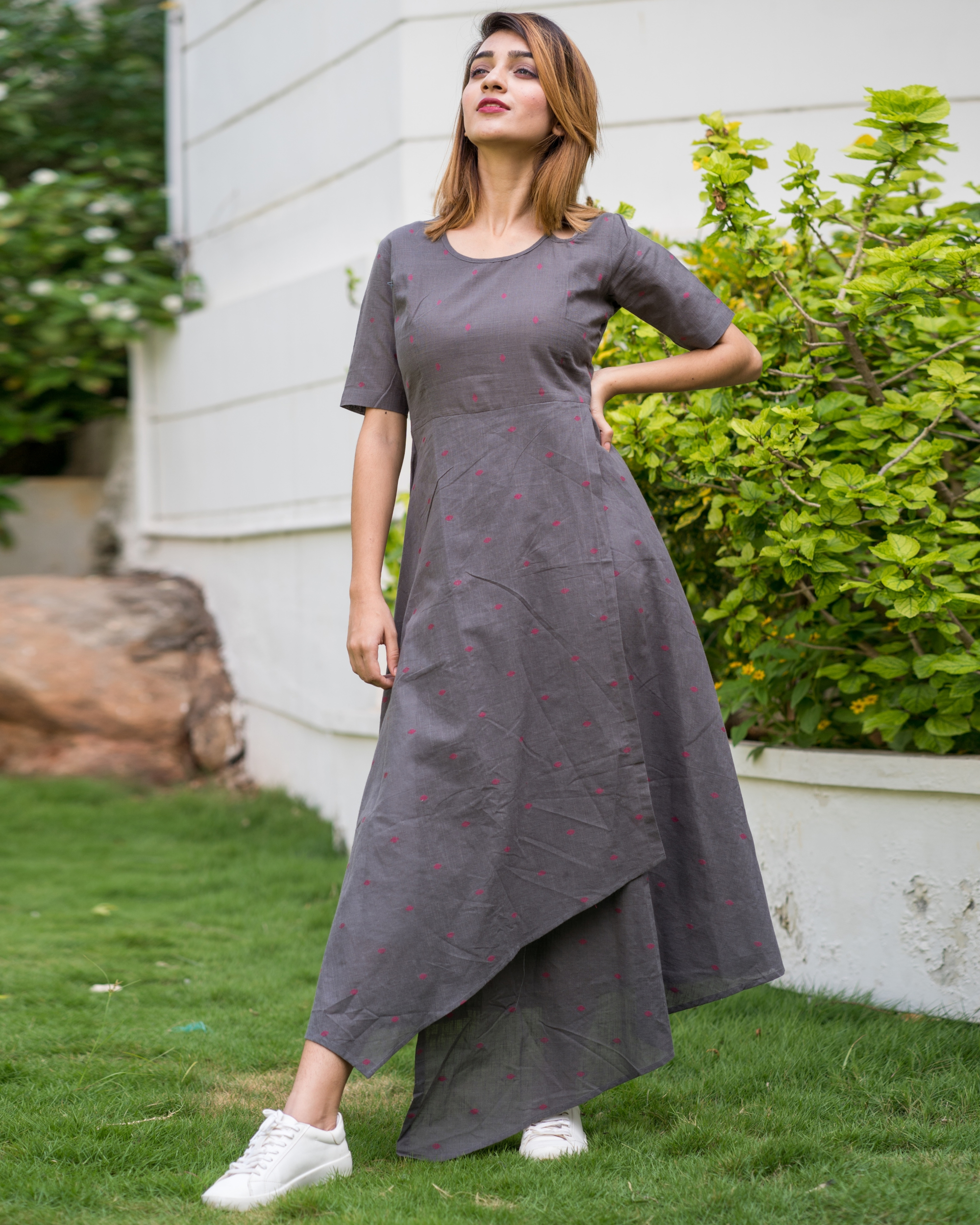 Monsoon grey asymmetric hem dress