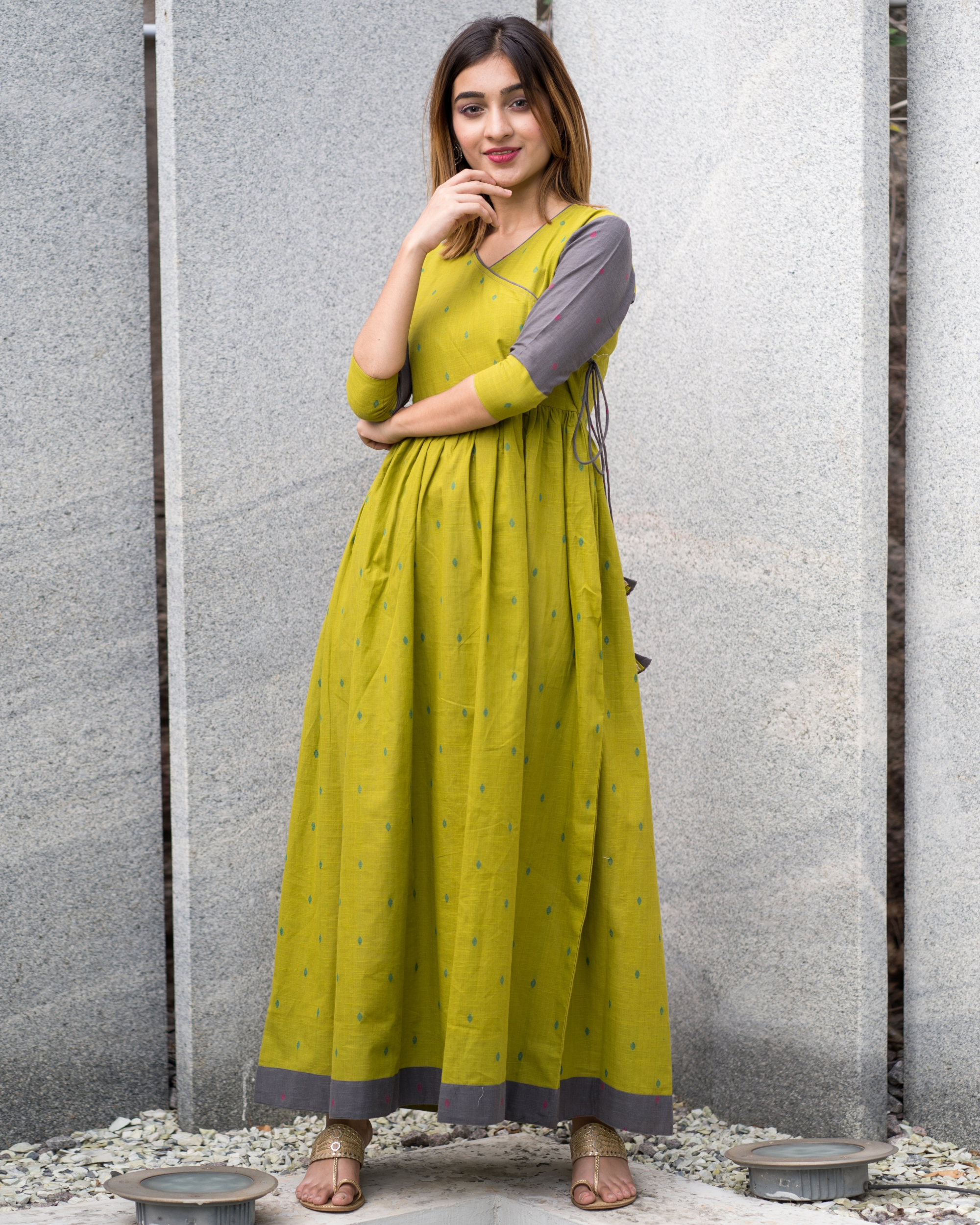 Green grey angrakha dress