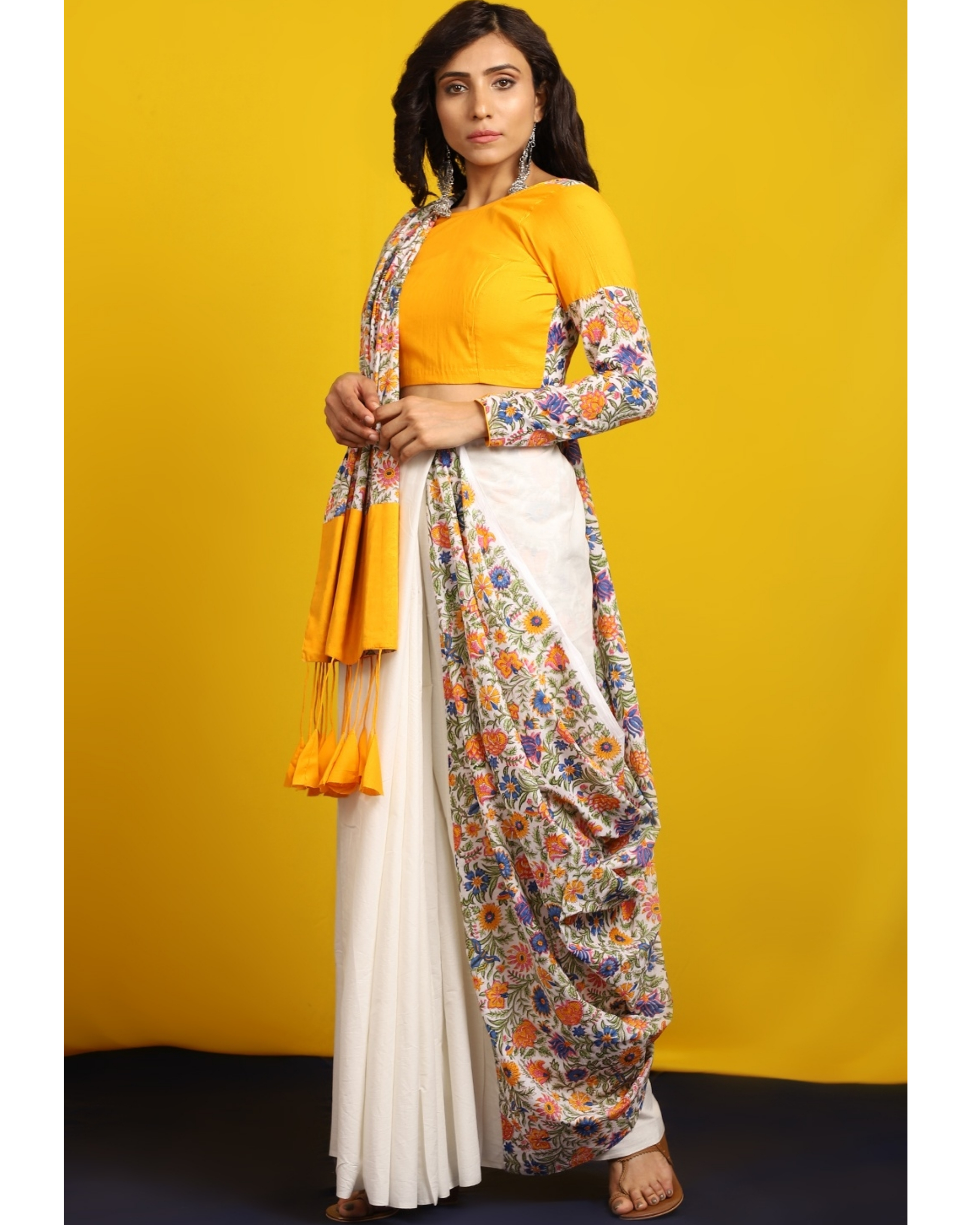 Ivory and floral half and half sari