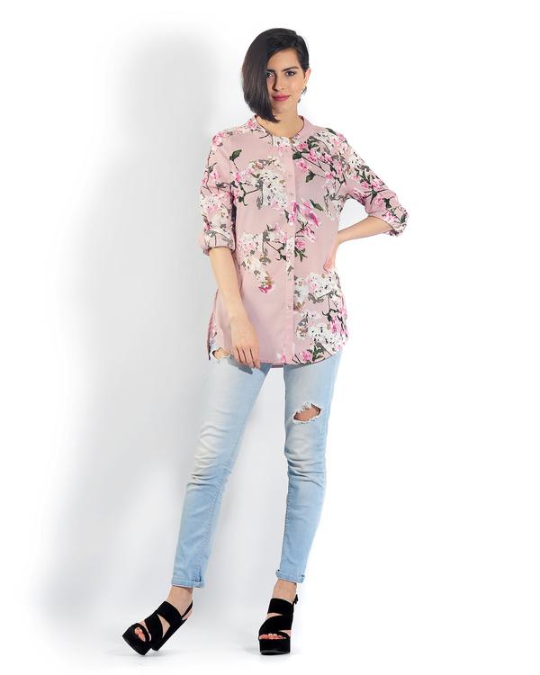 Pink floral button down shirt