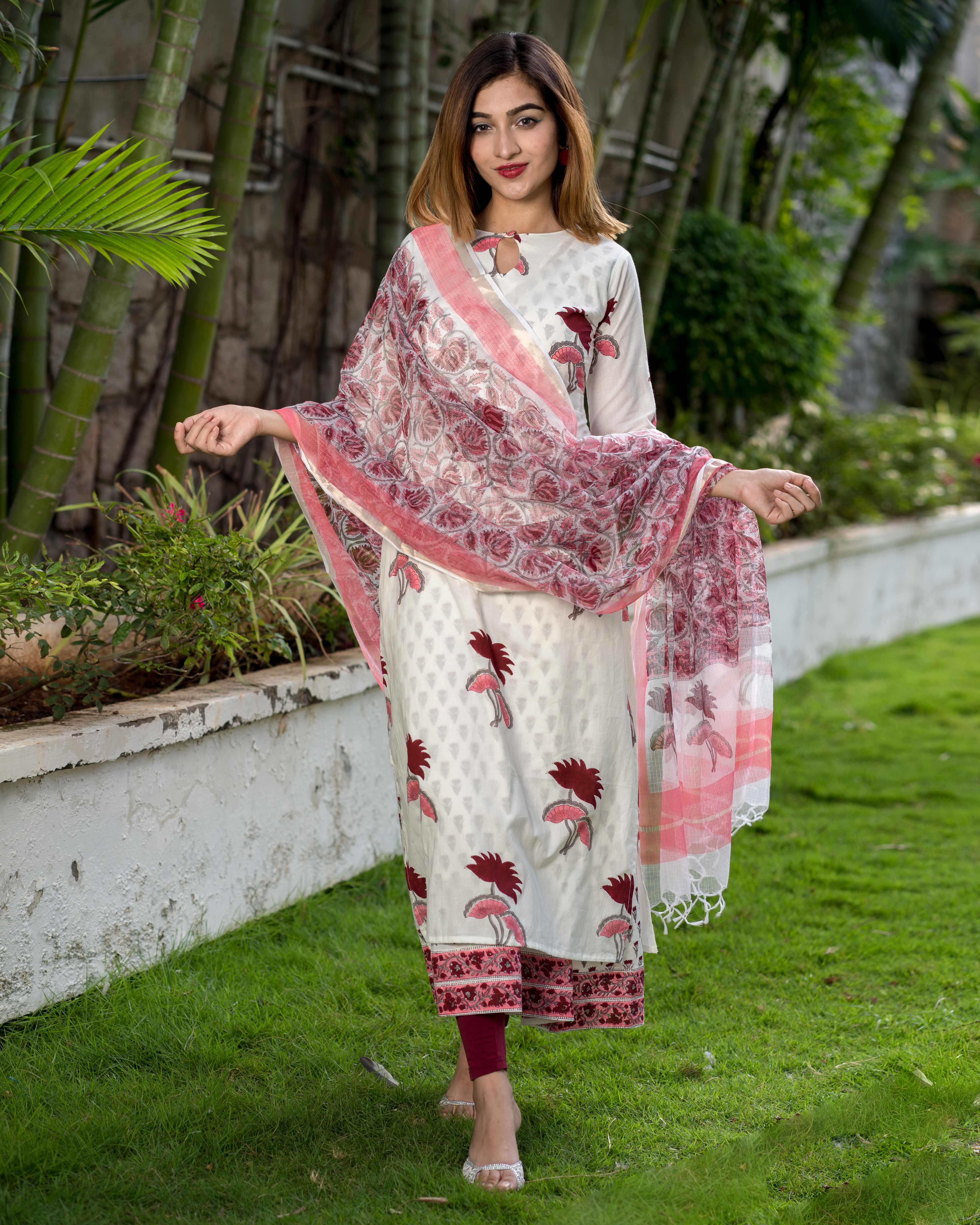 Block printed lotus kurta with printed kota dupatta - Set of Two