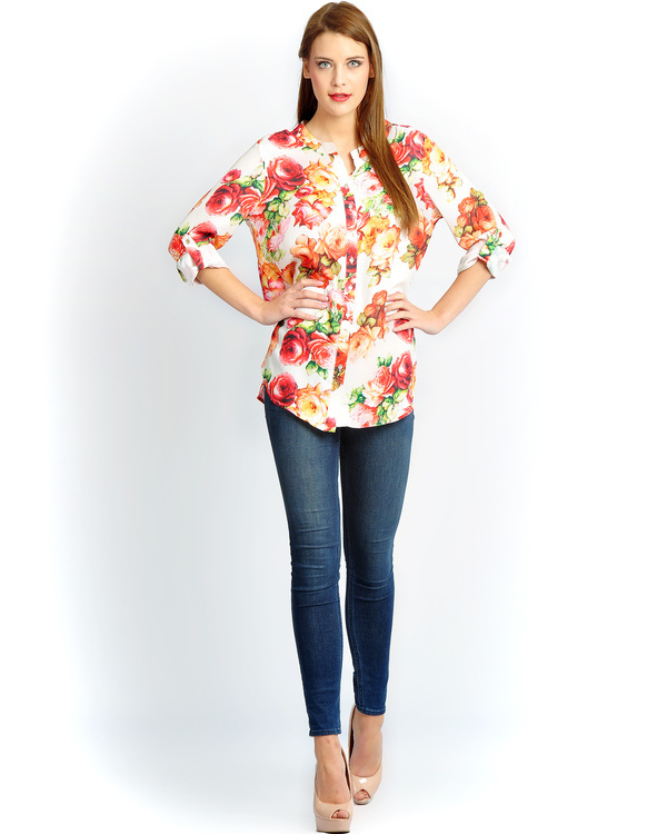 Ivory floral button down shirt