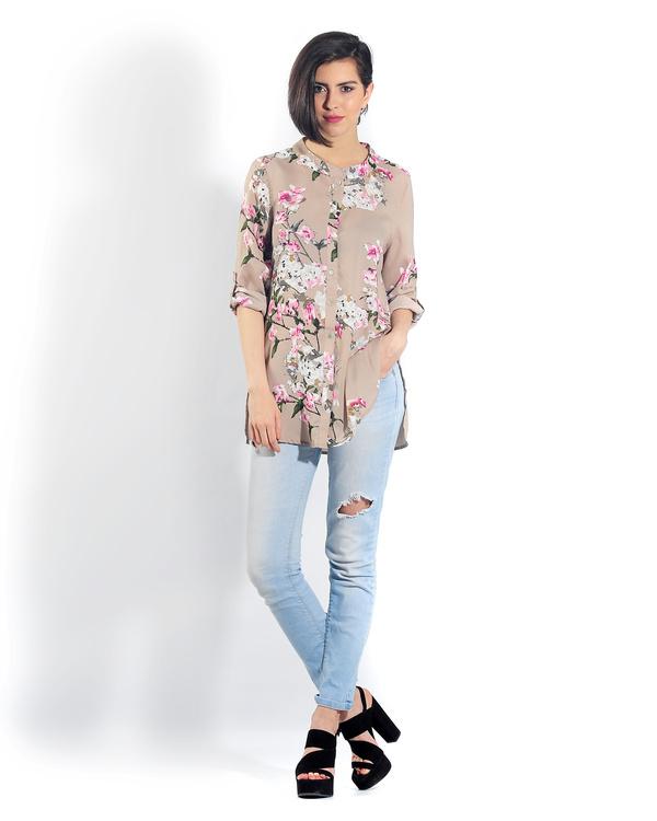 Beige floral button down shirt