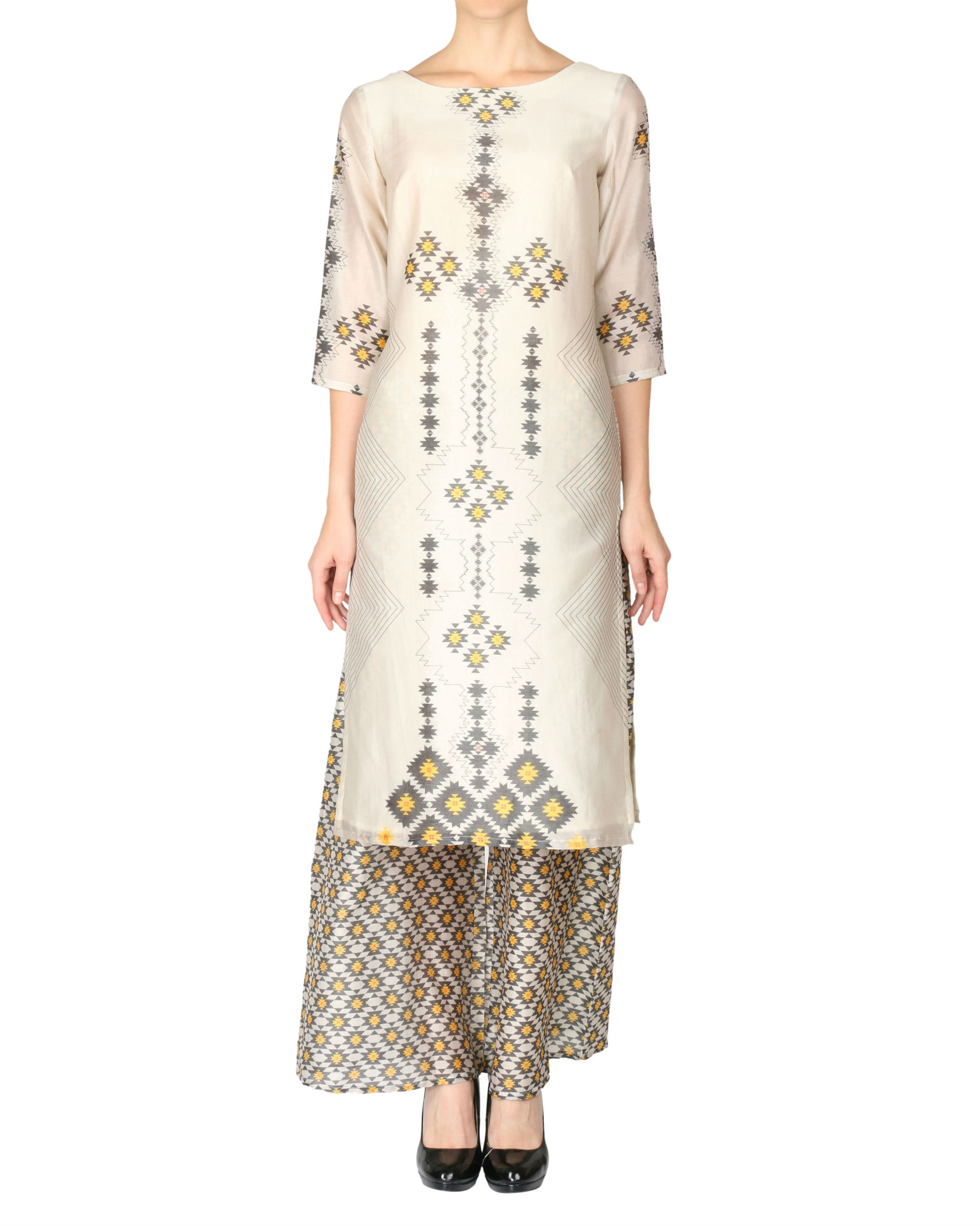 Printed kurta and palazzo set in beige color