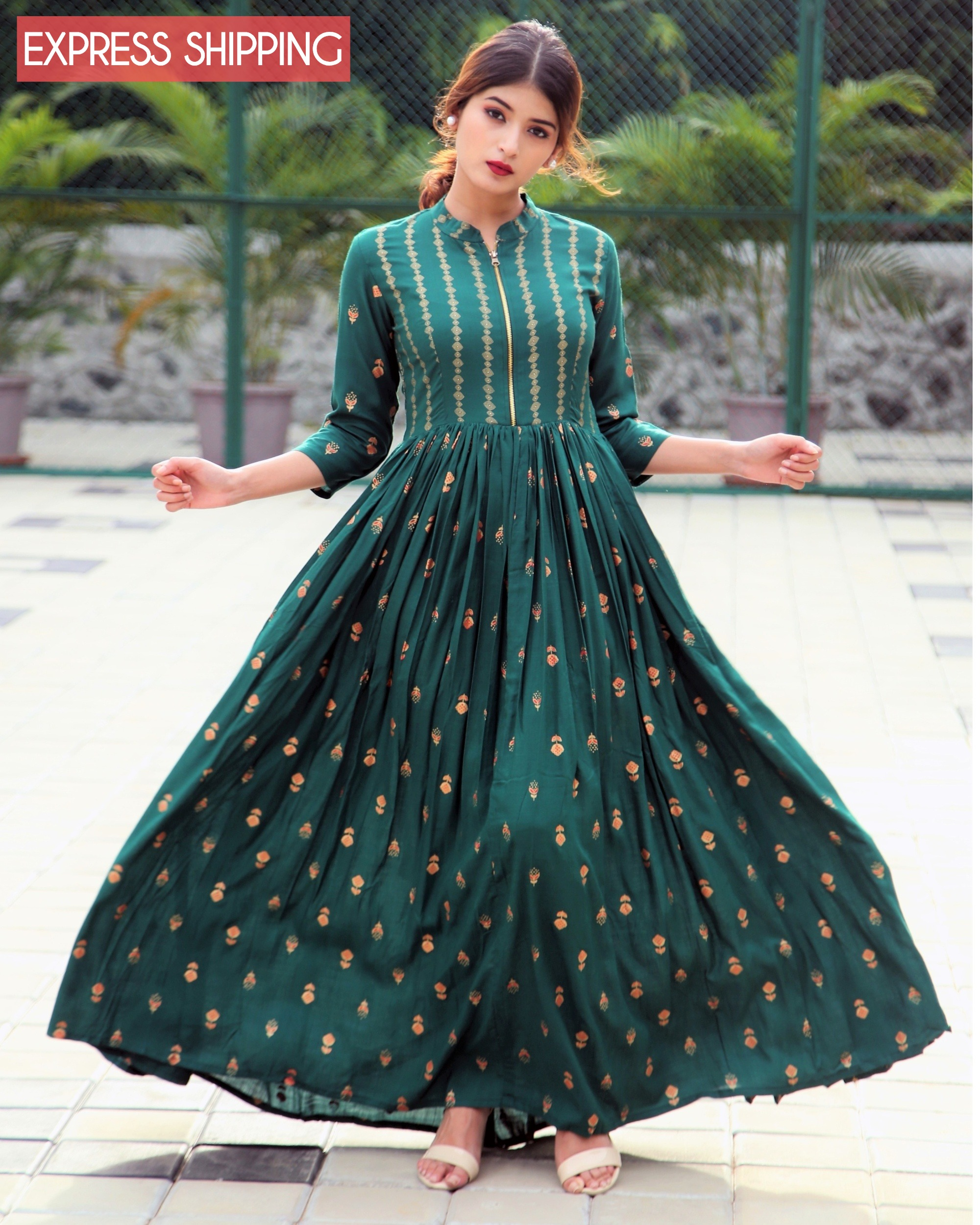 Emerald block printed flared dress