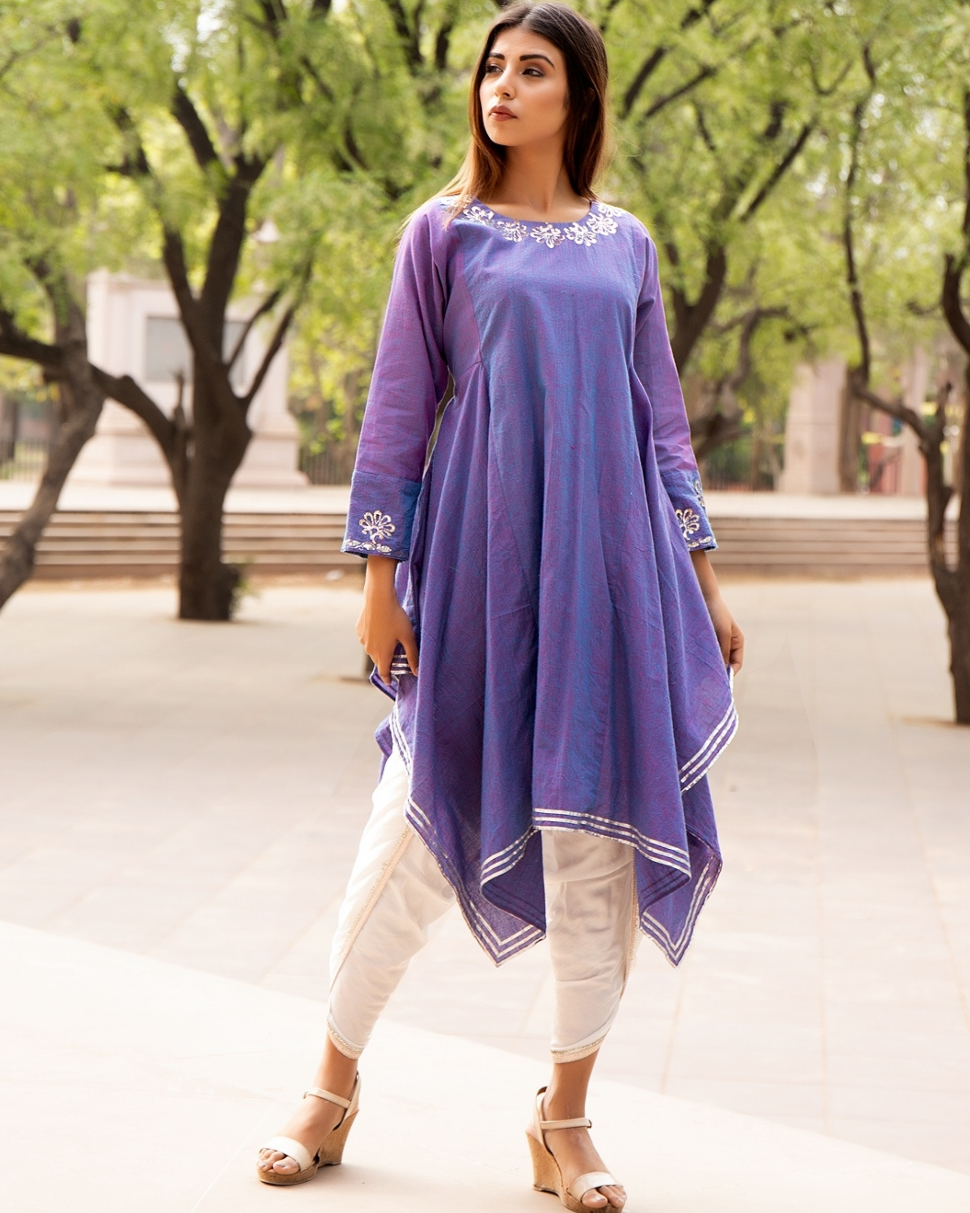 Lavender embroidered tunic with tulip pants - set of two