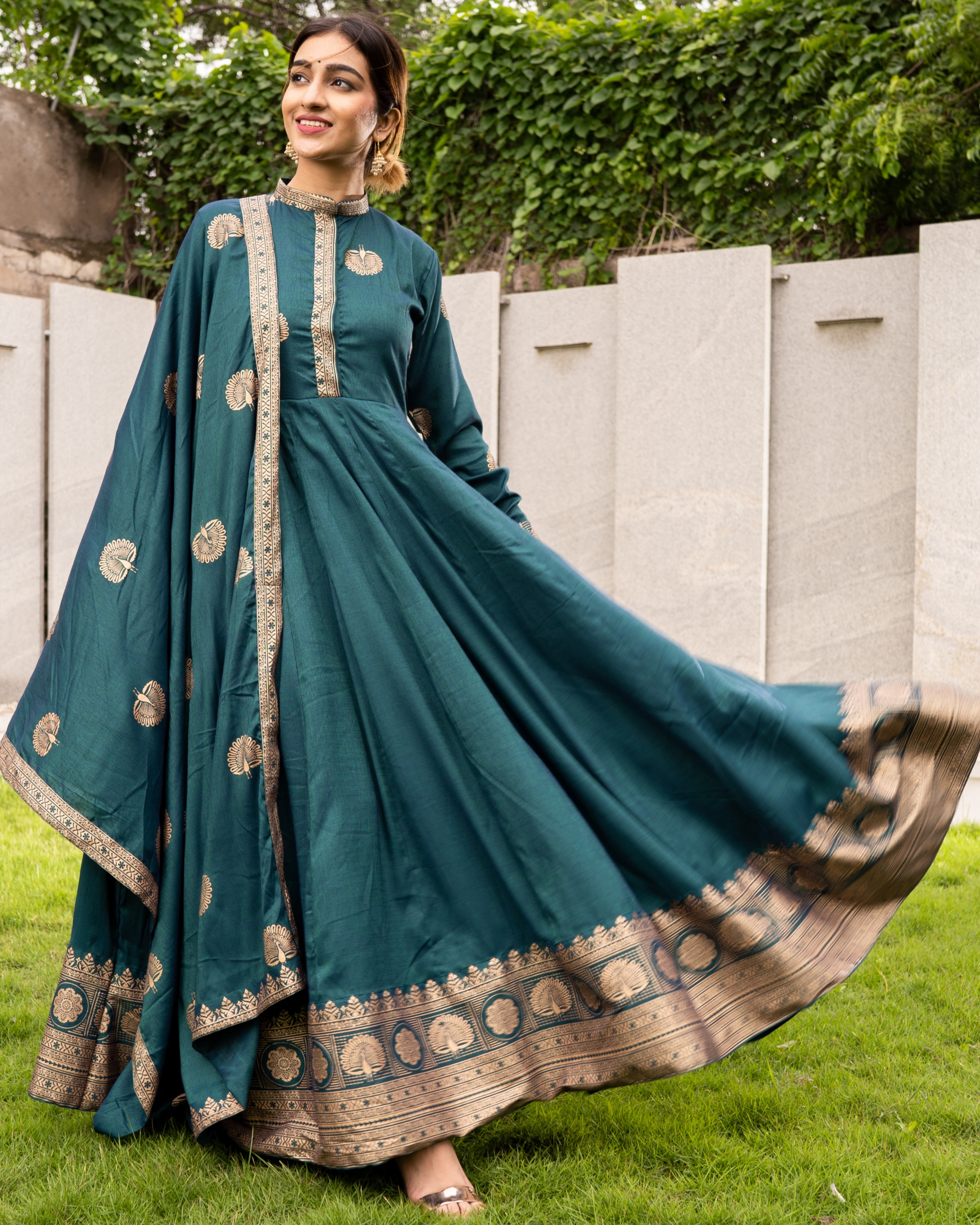 Teal and Gold Flared Anarkali with Dupatta - Set of Two