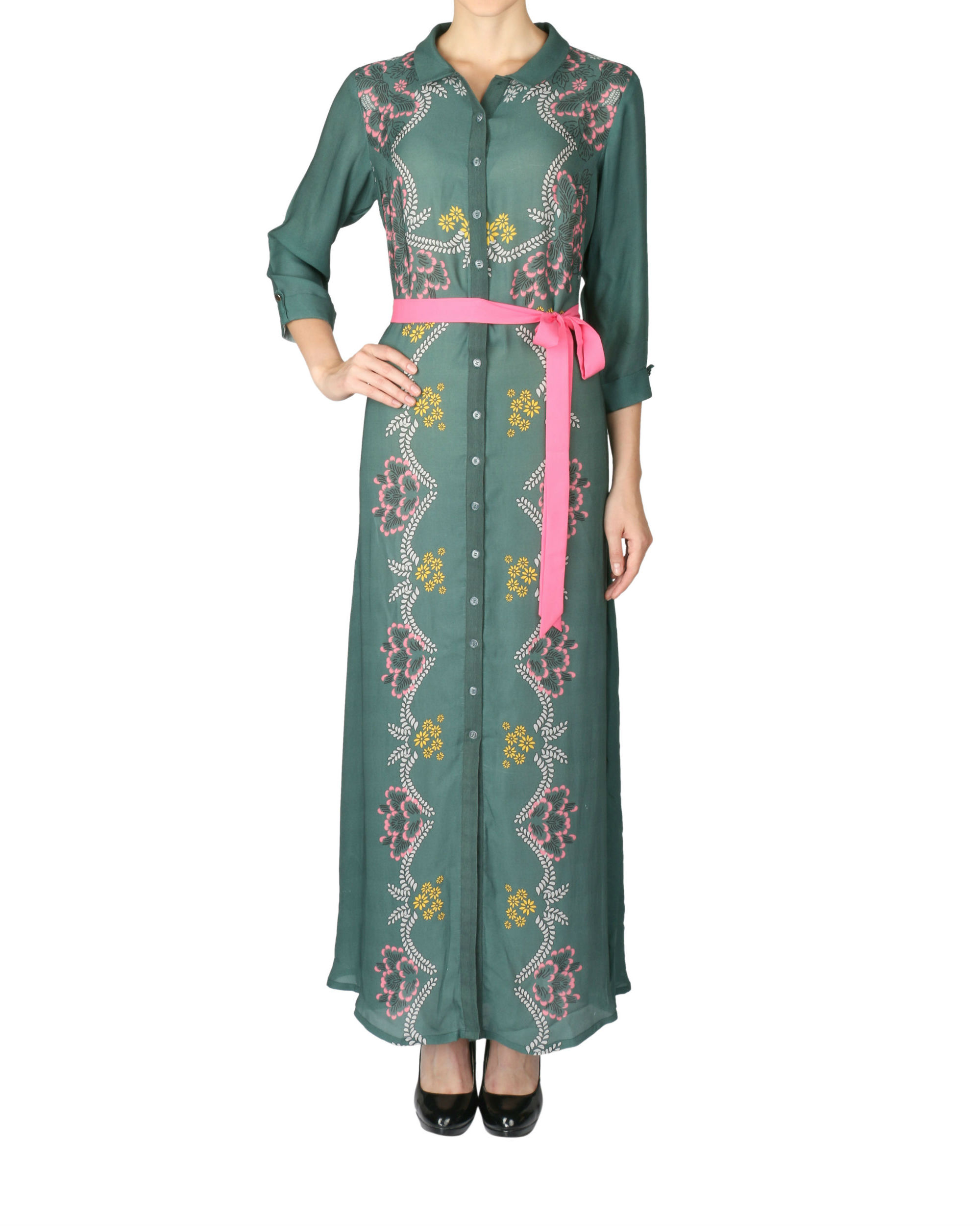 Olive green printed dress