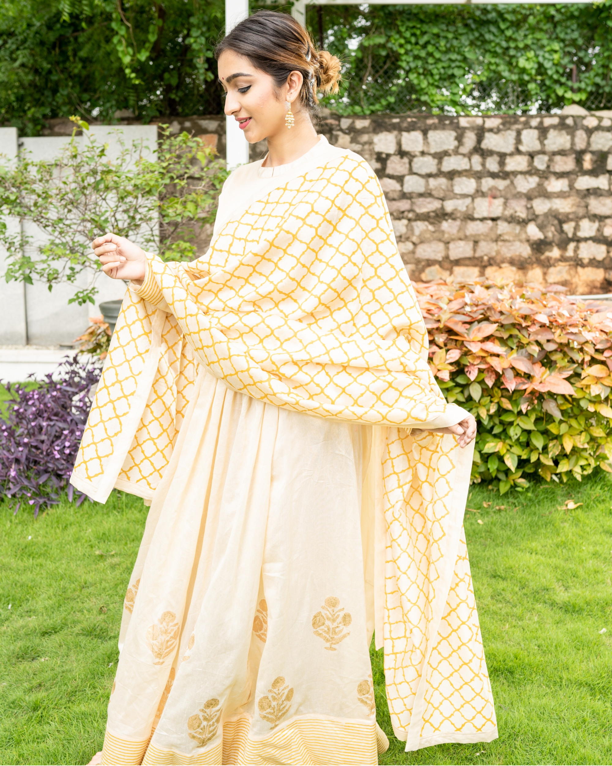 Cream and Gold Flared Anarkali with Dupatta - Set of Two