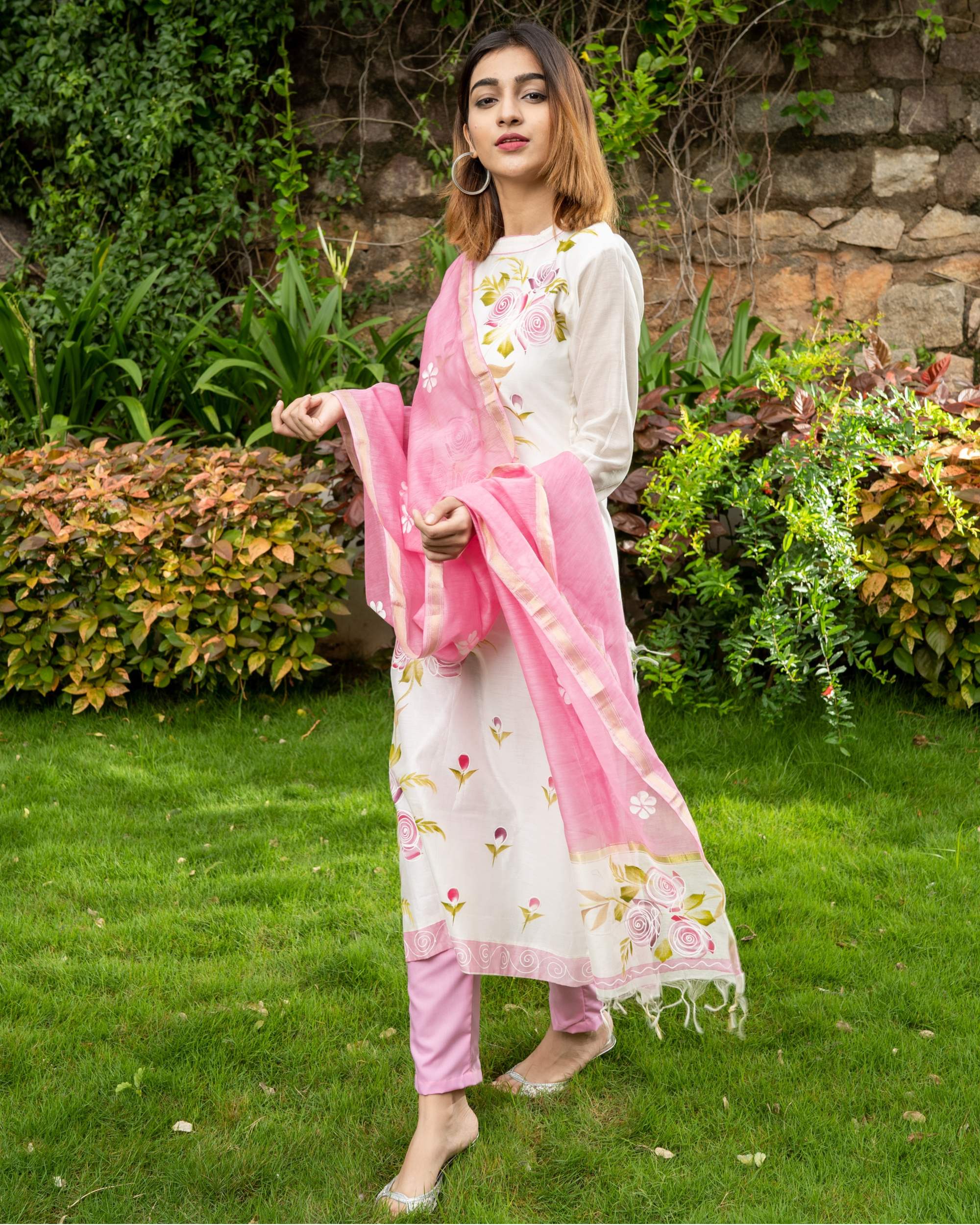 Pink Hand Painted Kurta with Chanderi Dupatta - Set of Two