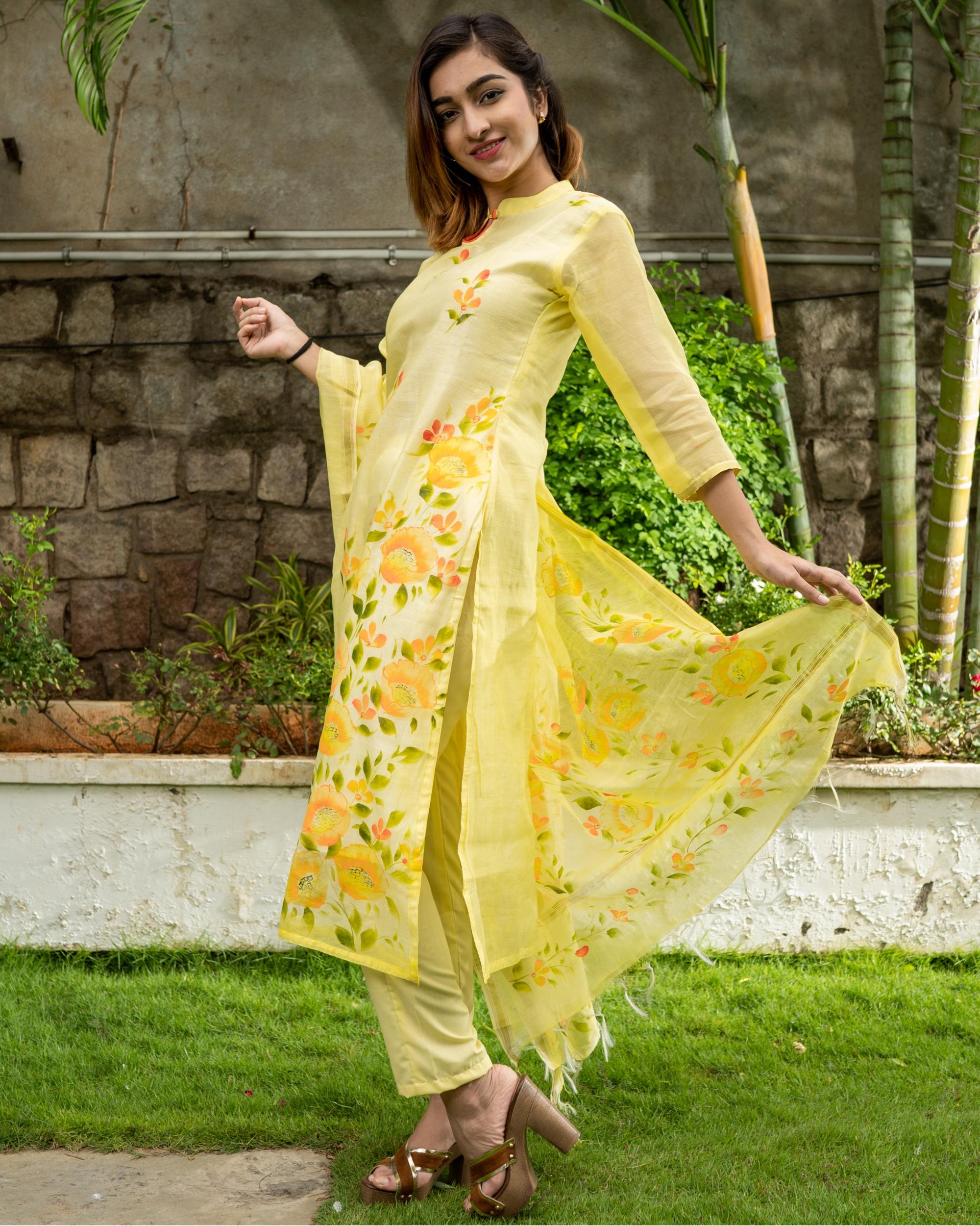 Yellow Hand Painted Kurta with Chanderi Dupatta - Set of Two