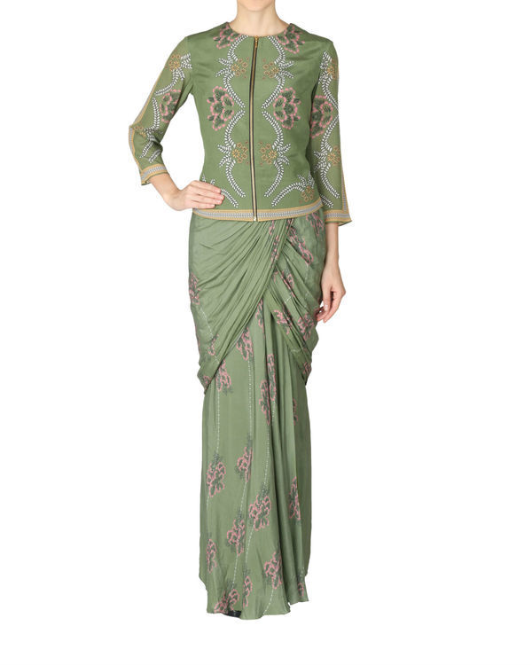 Olive green saree and jacket set