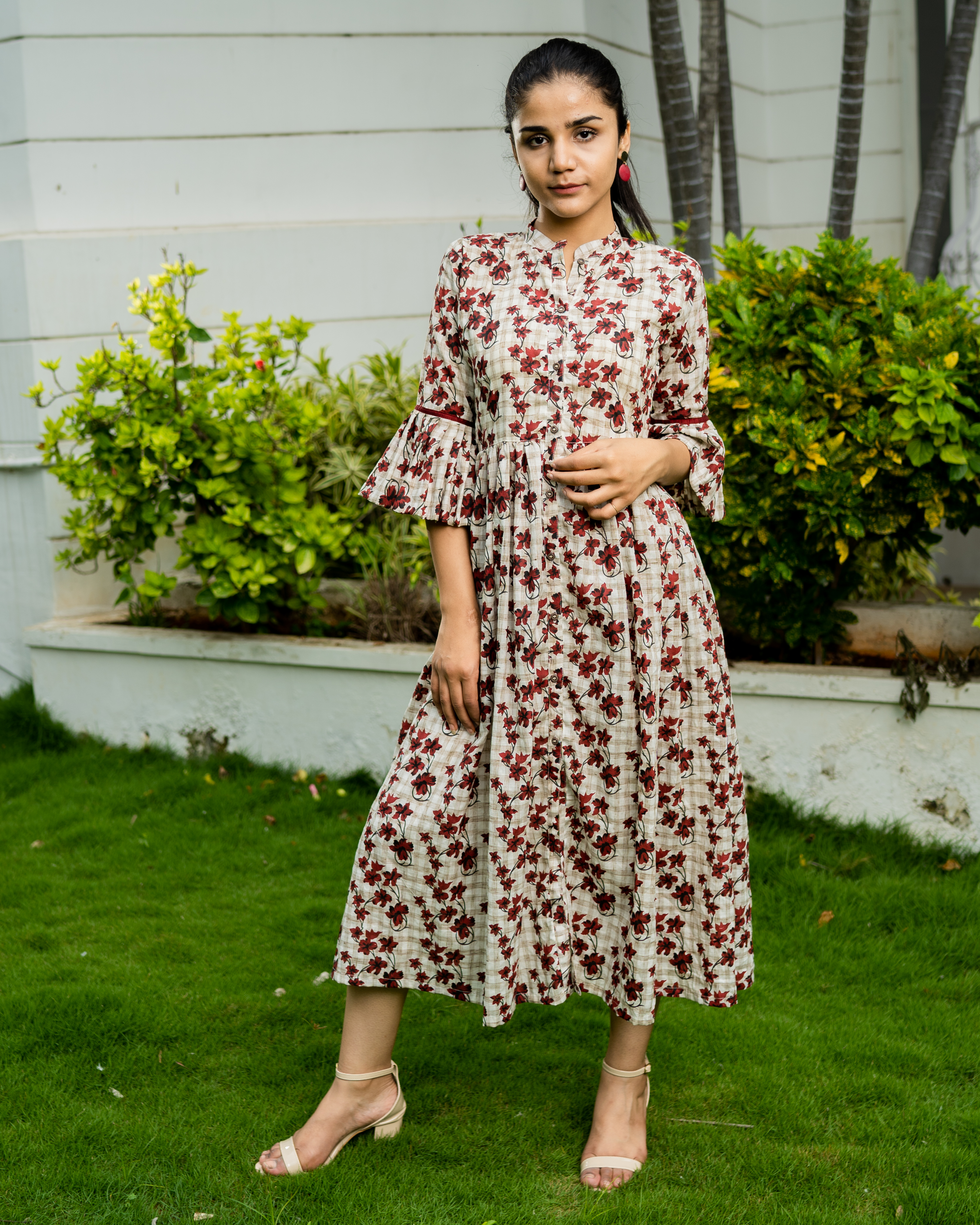 Off white cotton printed dress with bell sleeves