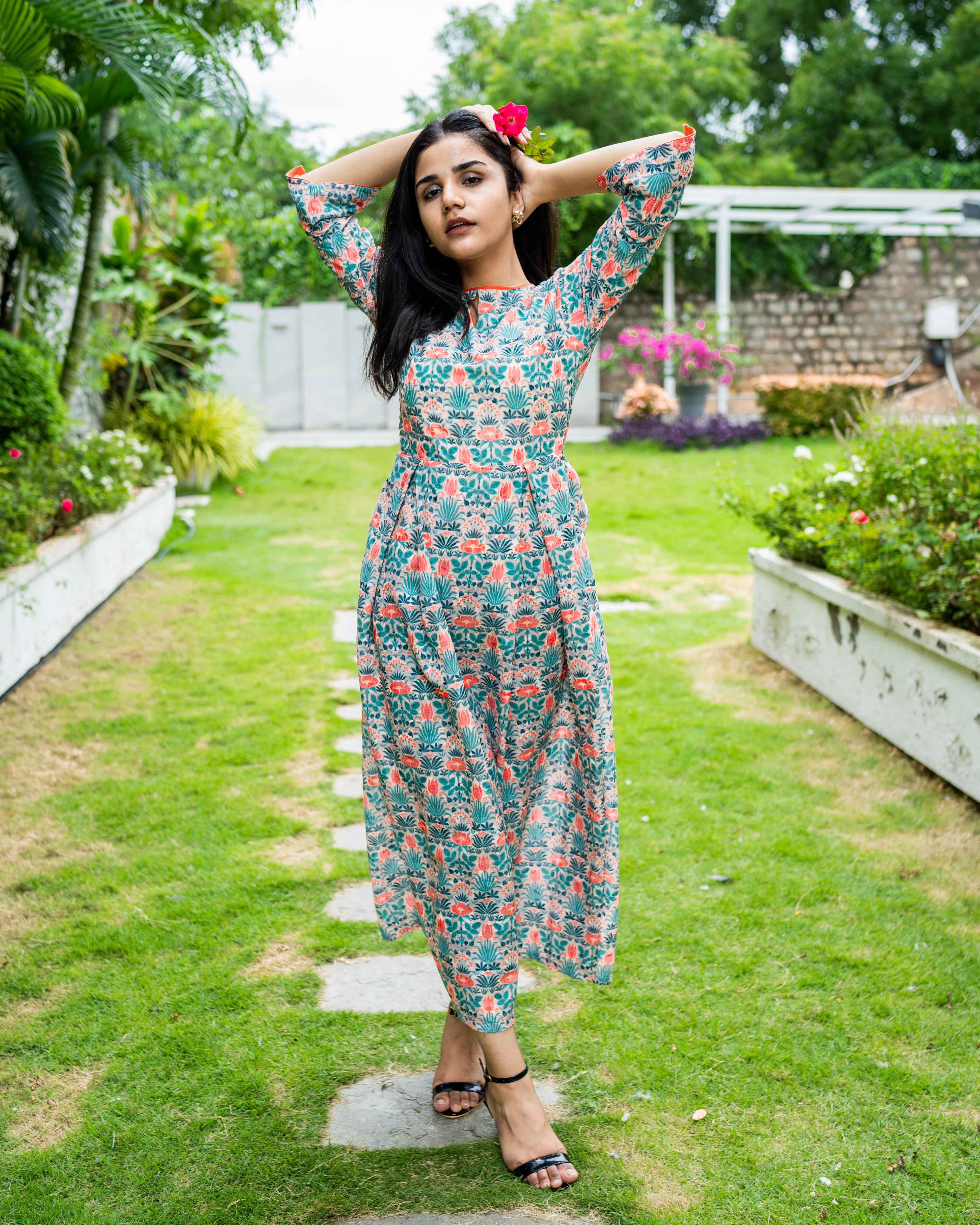 Floral printed cotton schiffli work dress