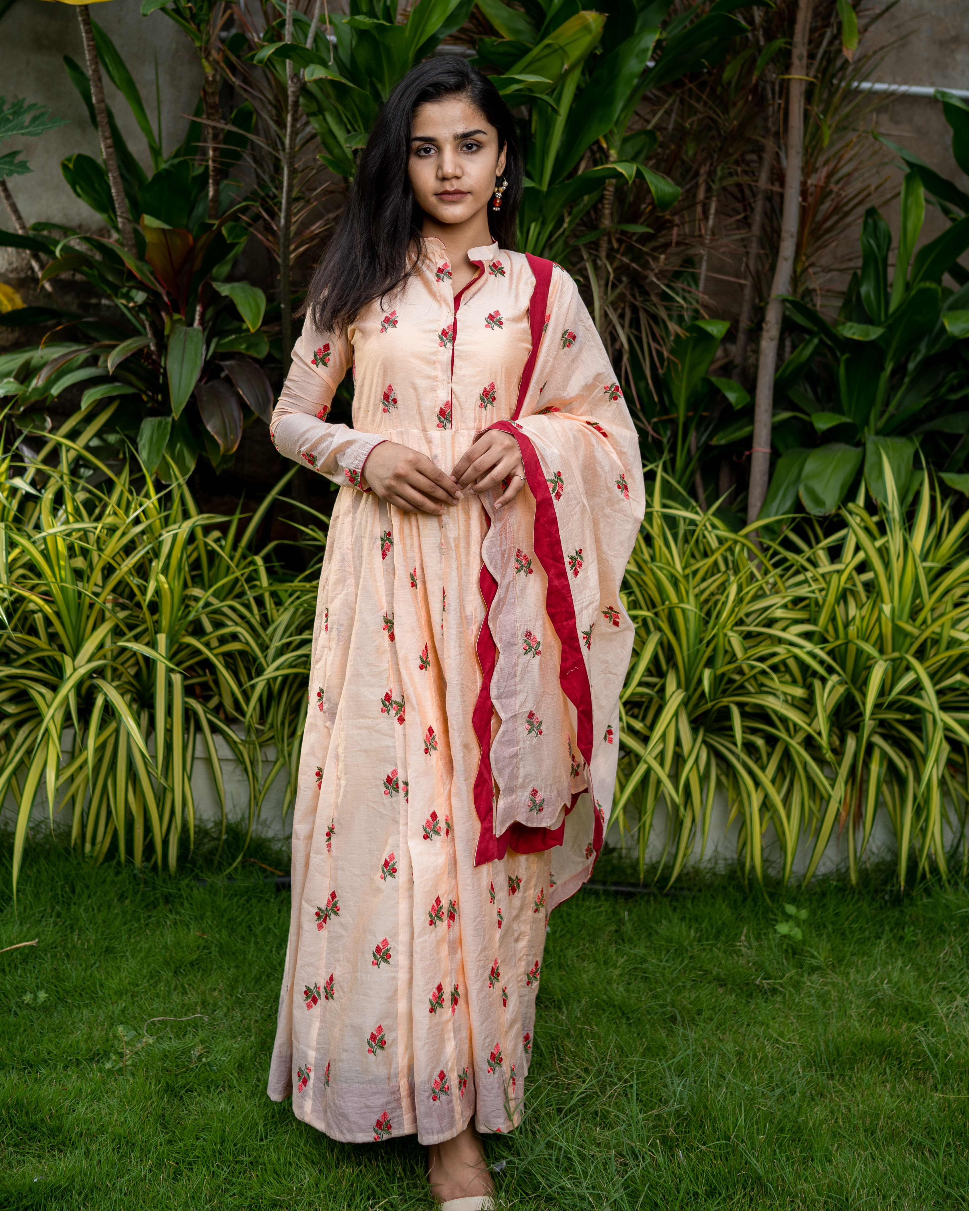 Peach embroidered cotton anarkali with dupatta - set of two