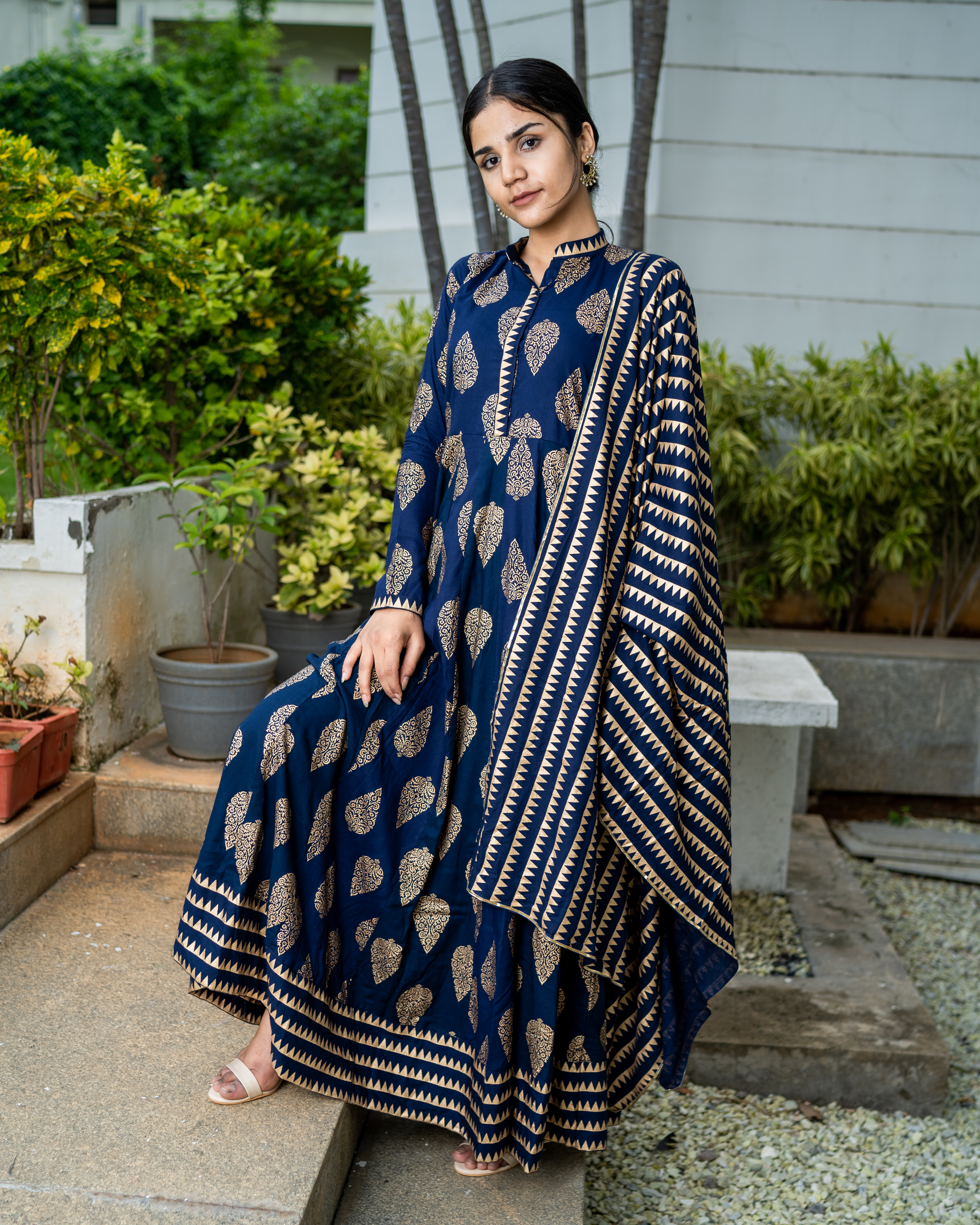 Navy blue cotton printed suit set- set of two