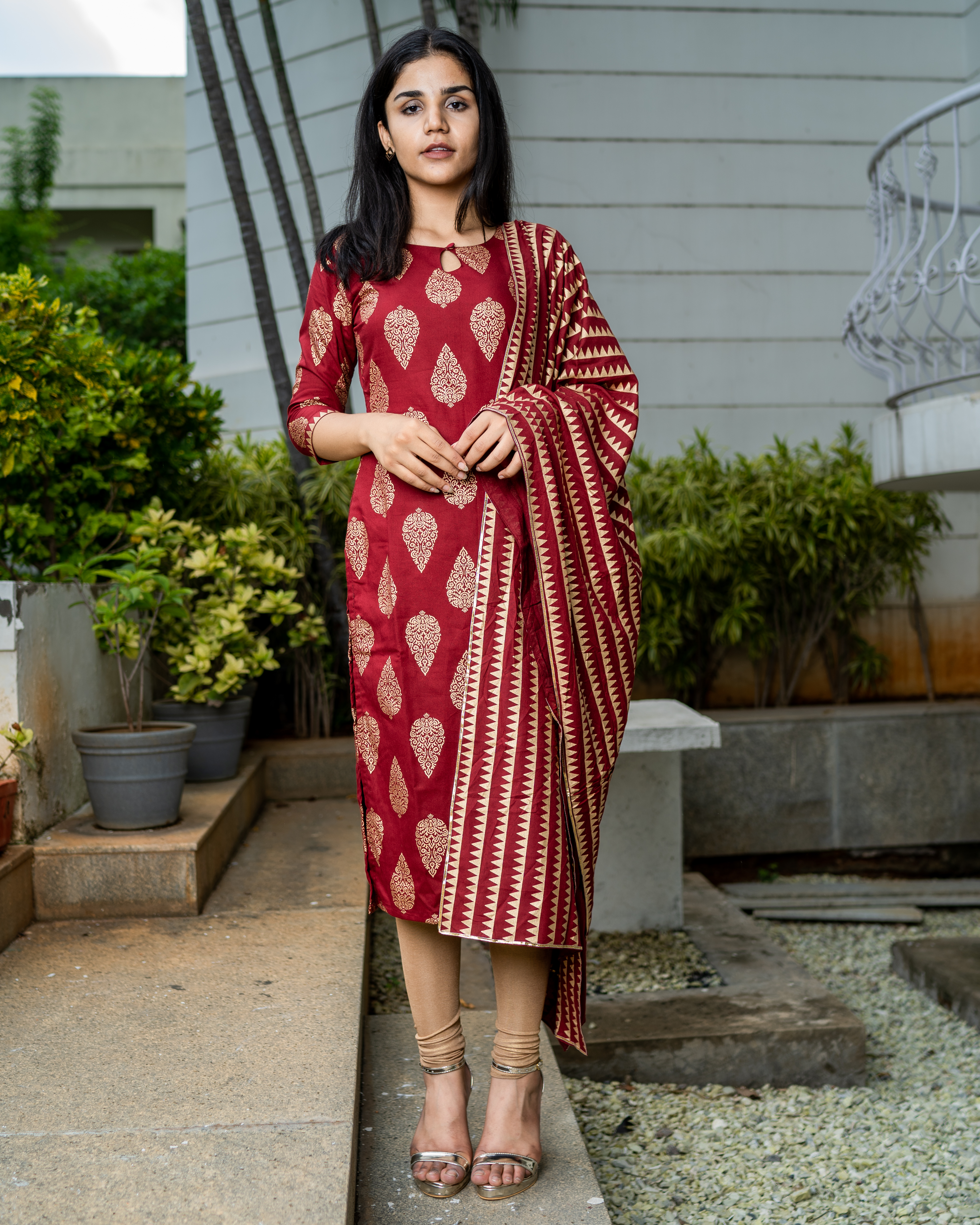 Crimson red cotton printed suit set- set of two
