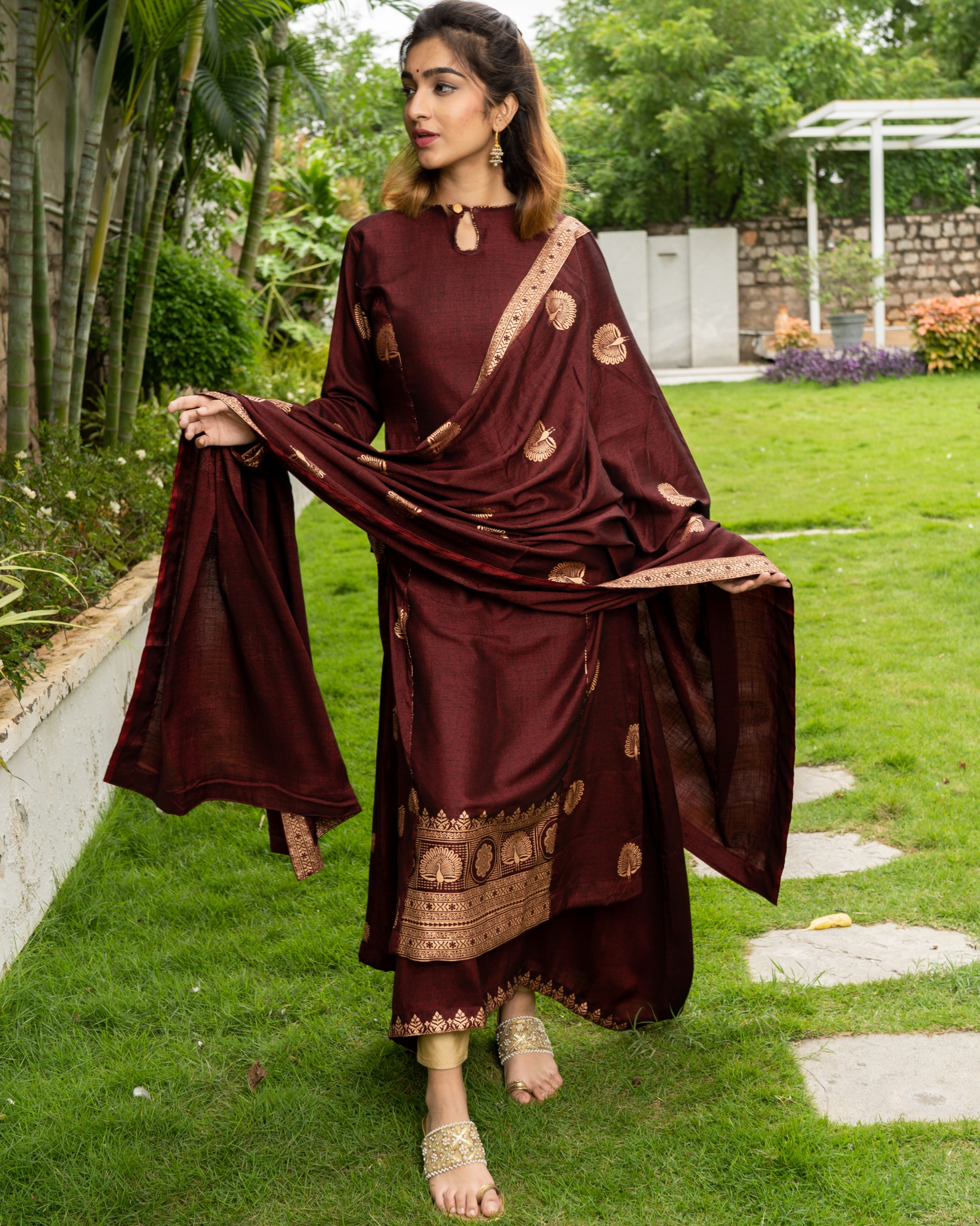 Maroon and Gold Layered Kurta with Dupatta - Set of Three