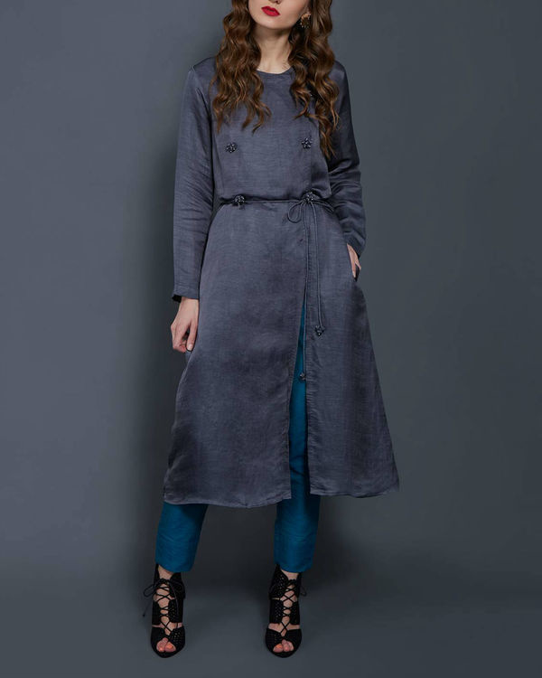 Grey tunic with front slit