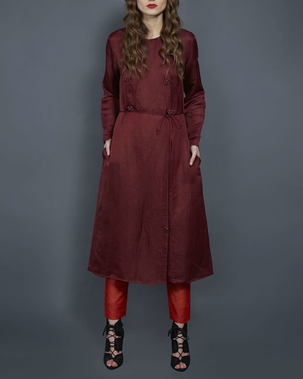 Wine tunic with front slit