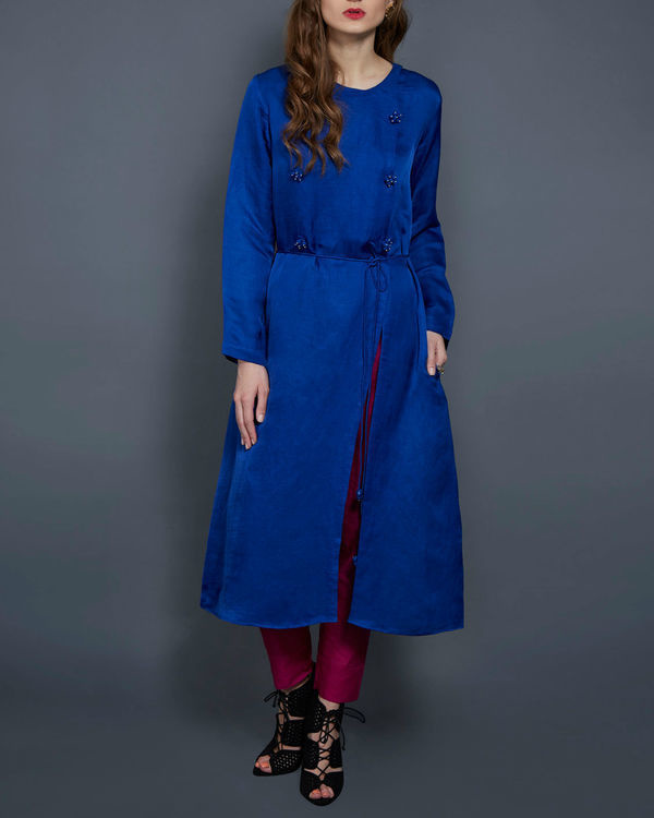 Cobalt blue tunic with front slit
