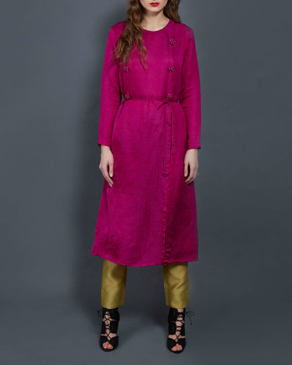 Pink tunic with front slit