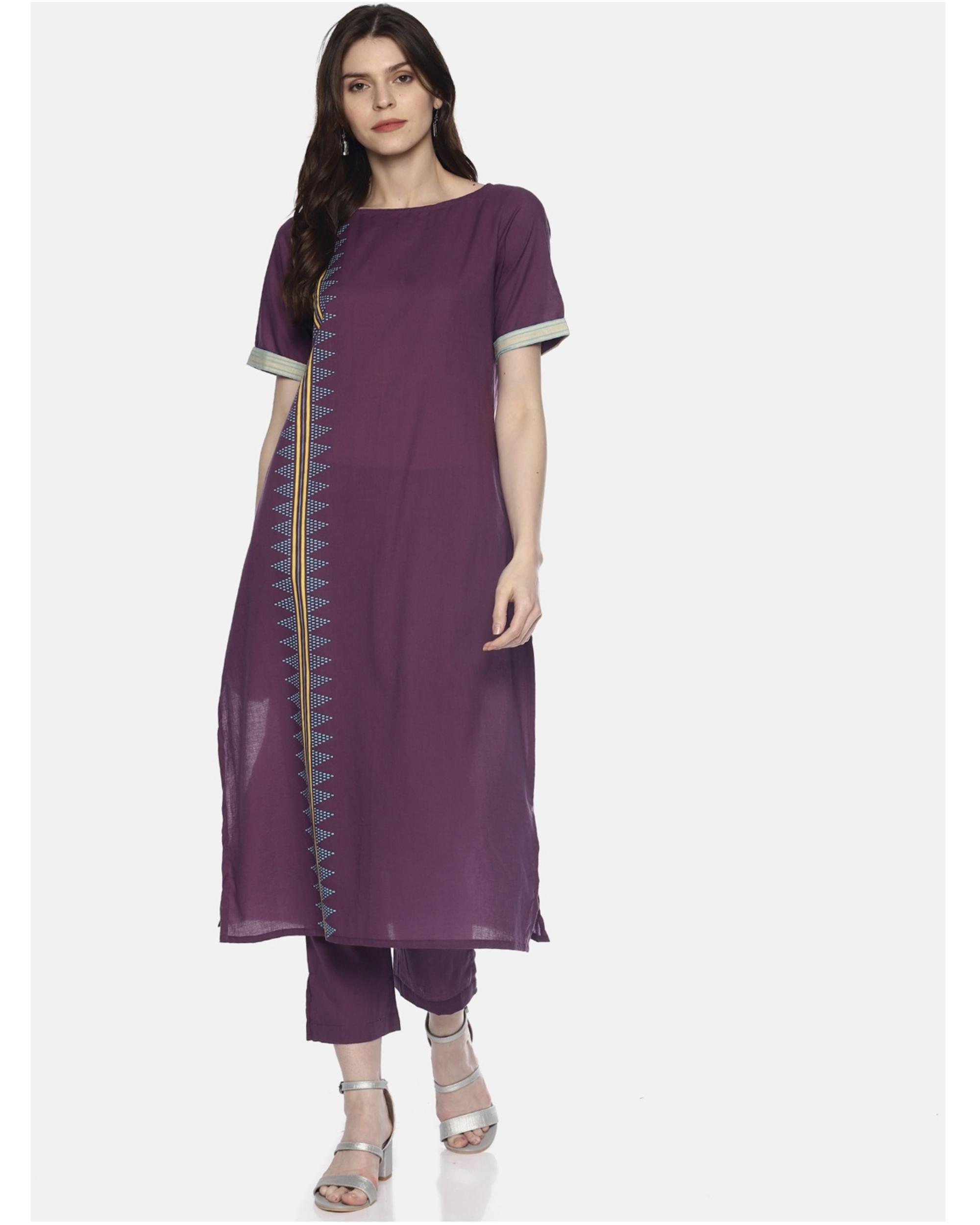 Purple printed kurta