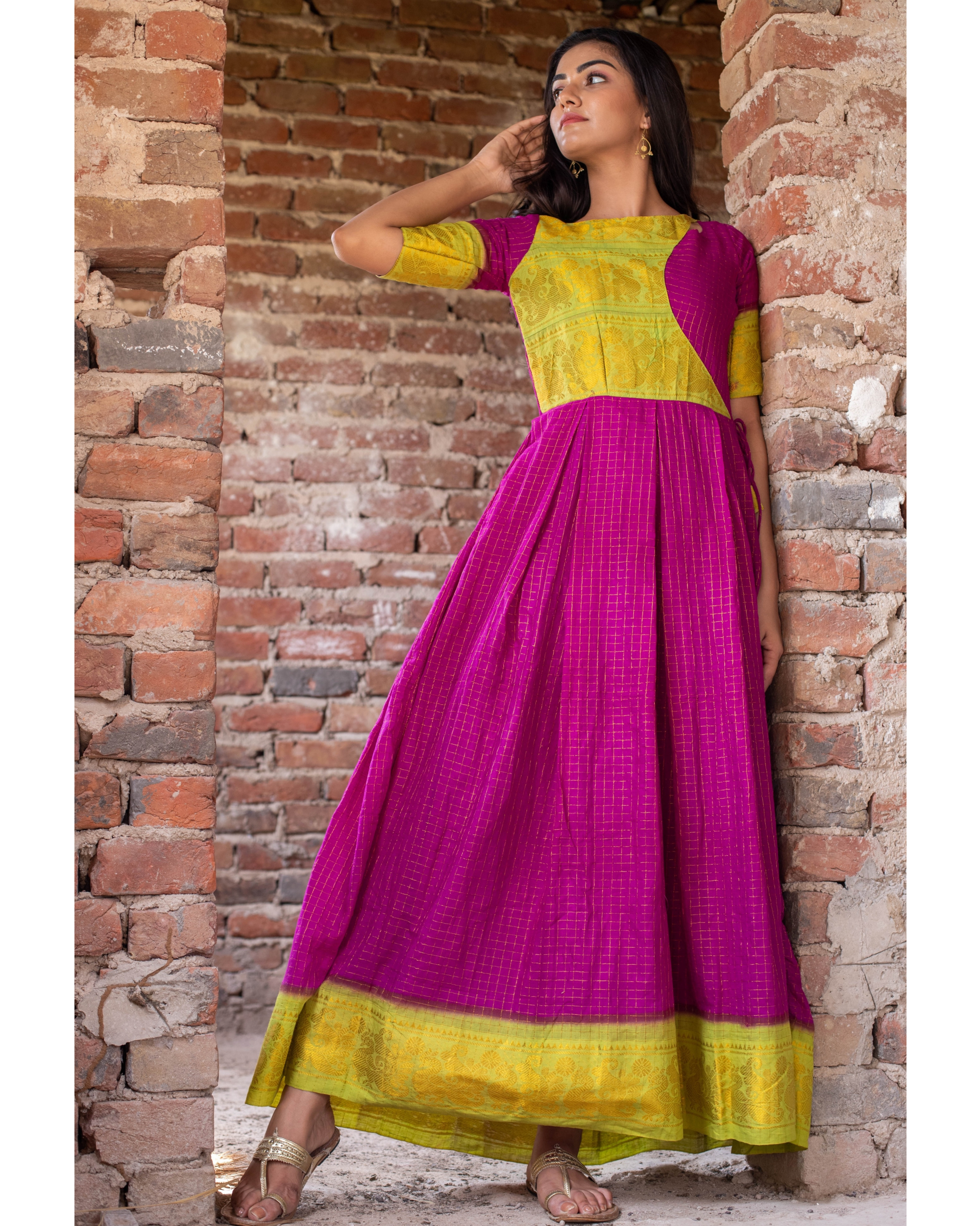 Purple madurai sungudi cotton maxi with contrast yoke