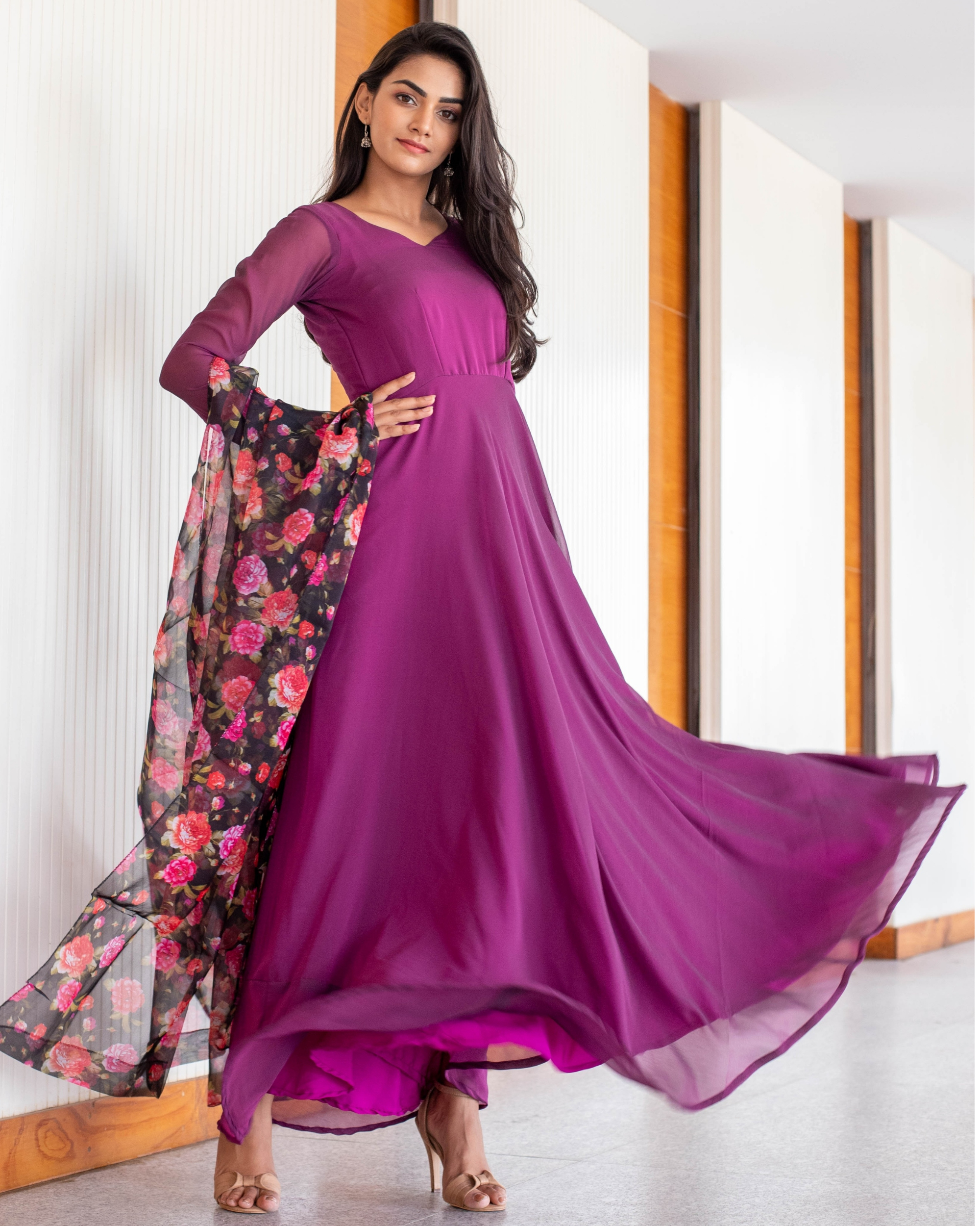 Wine Georgette maxi with floral organza dupatta-set of two