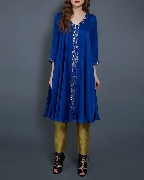 Cobalt blue flared tunic