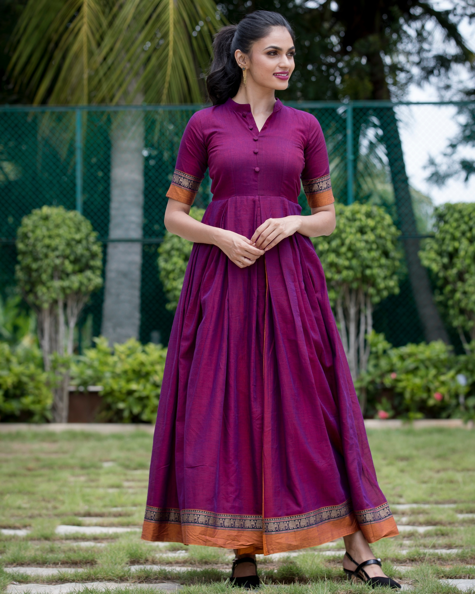 Purple box pleated narayanpet handloom dress
