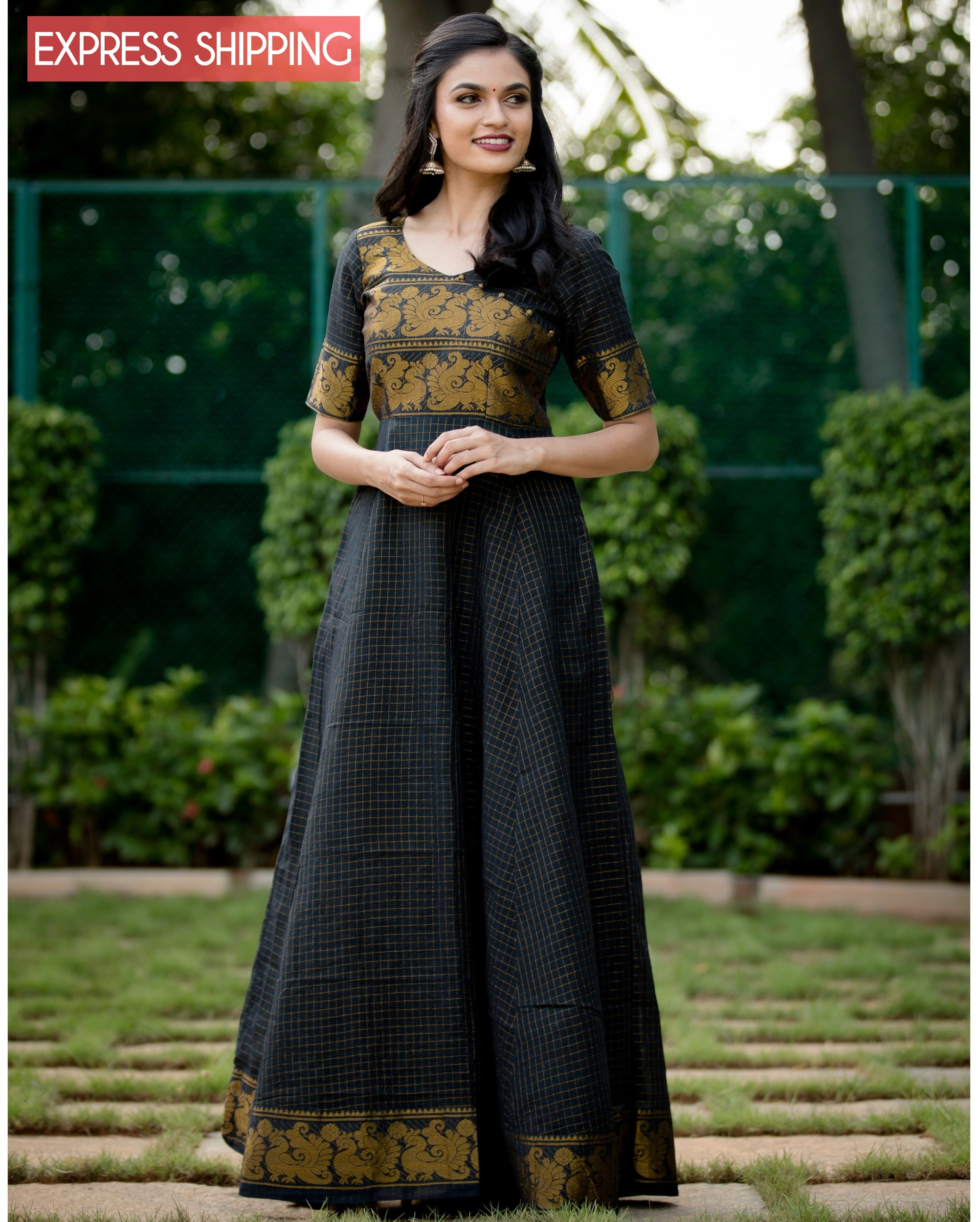 Black and gold madurai cotton maxi