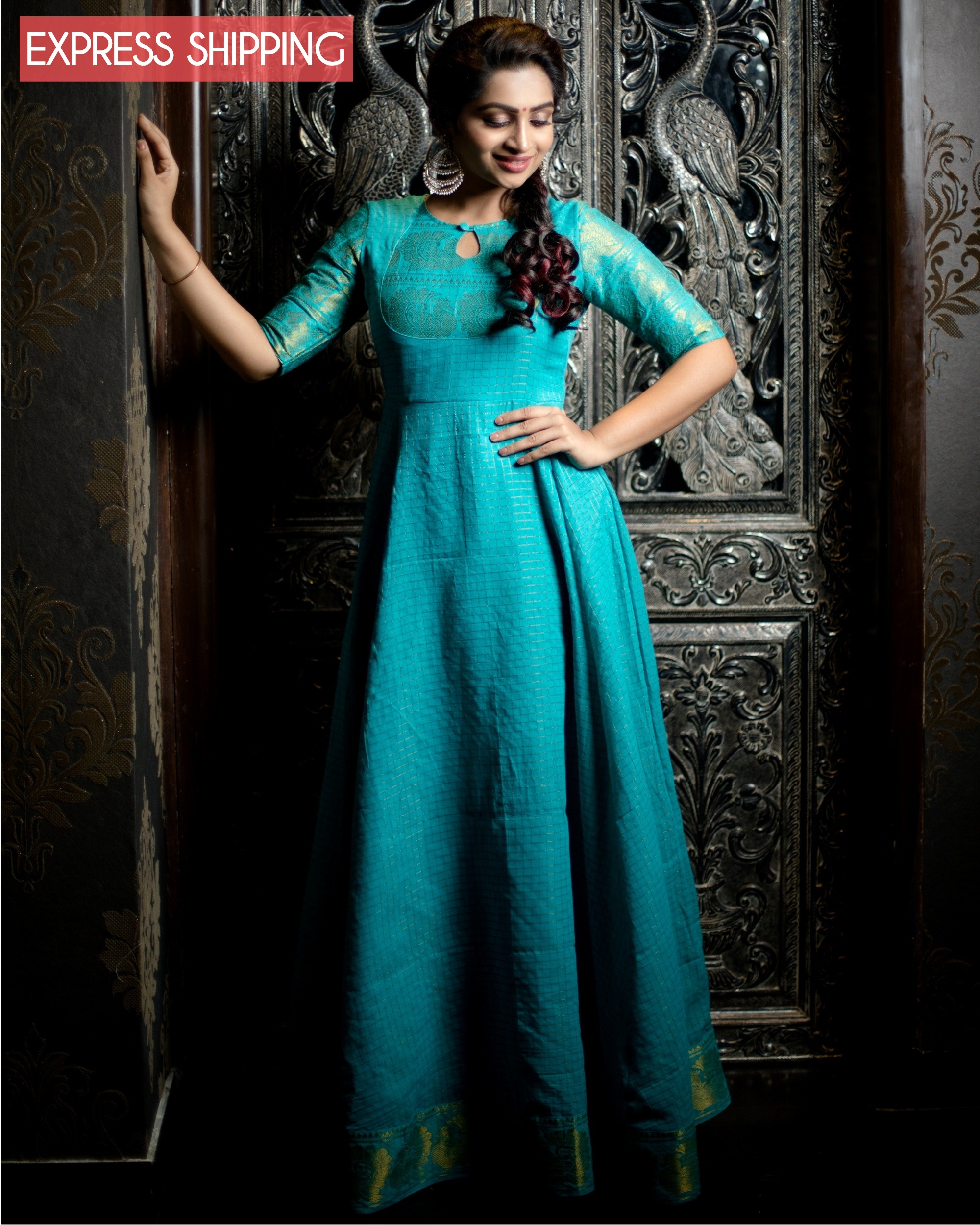 Turquoise and gold madurai cotton maxi