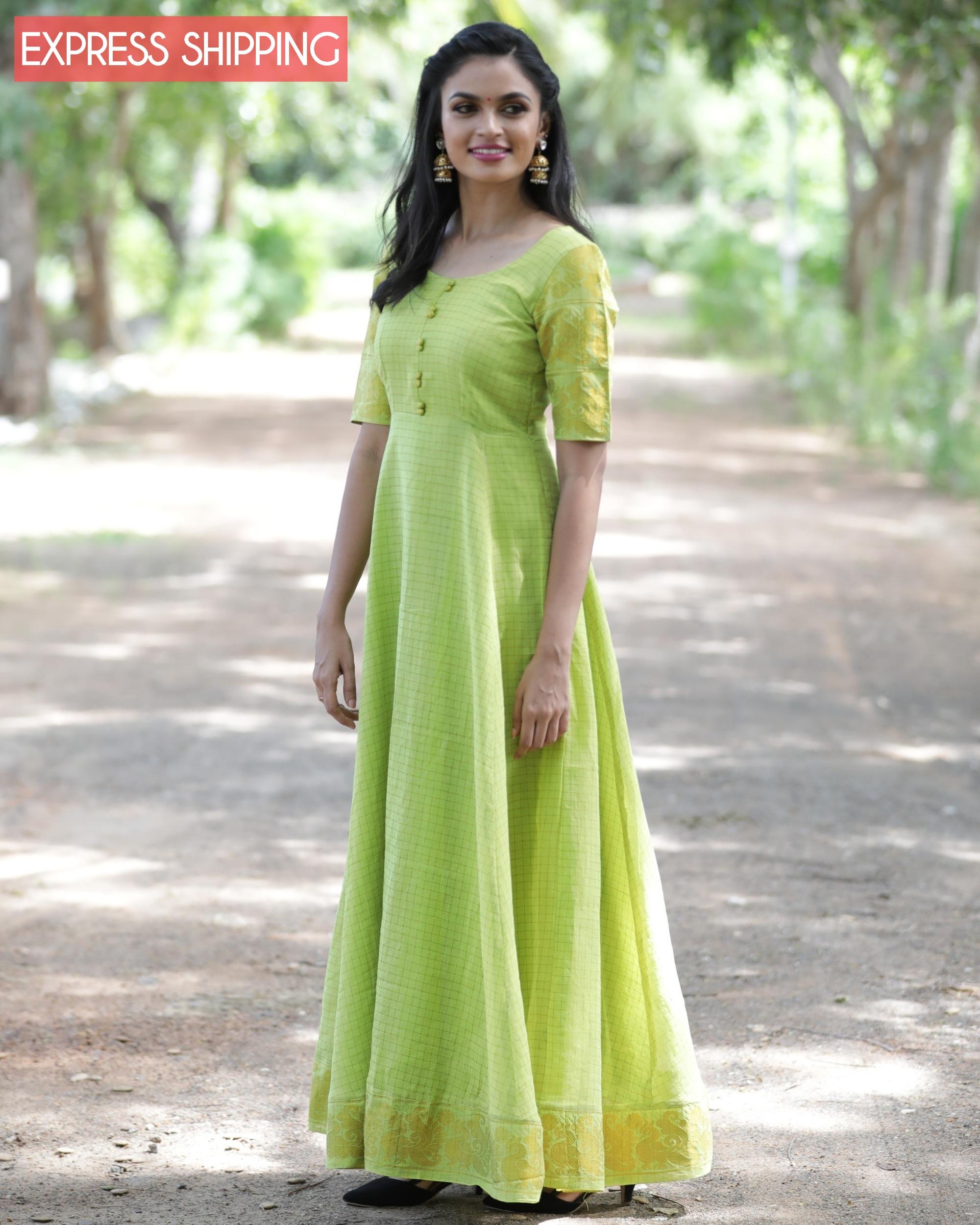 Lime green and gold madurai sungudi cotton maxi