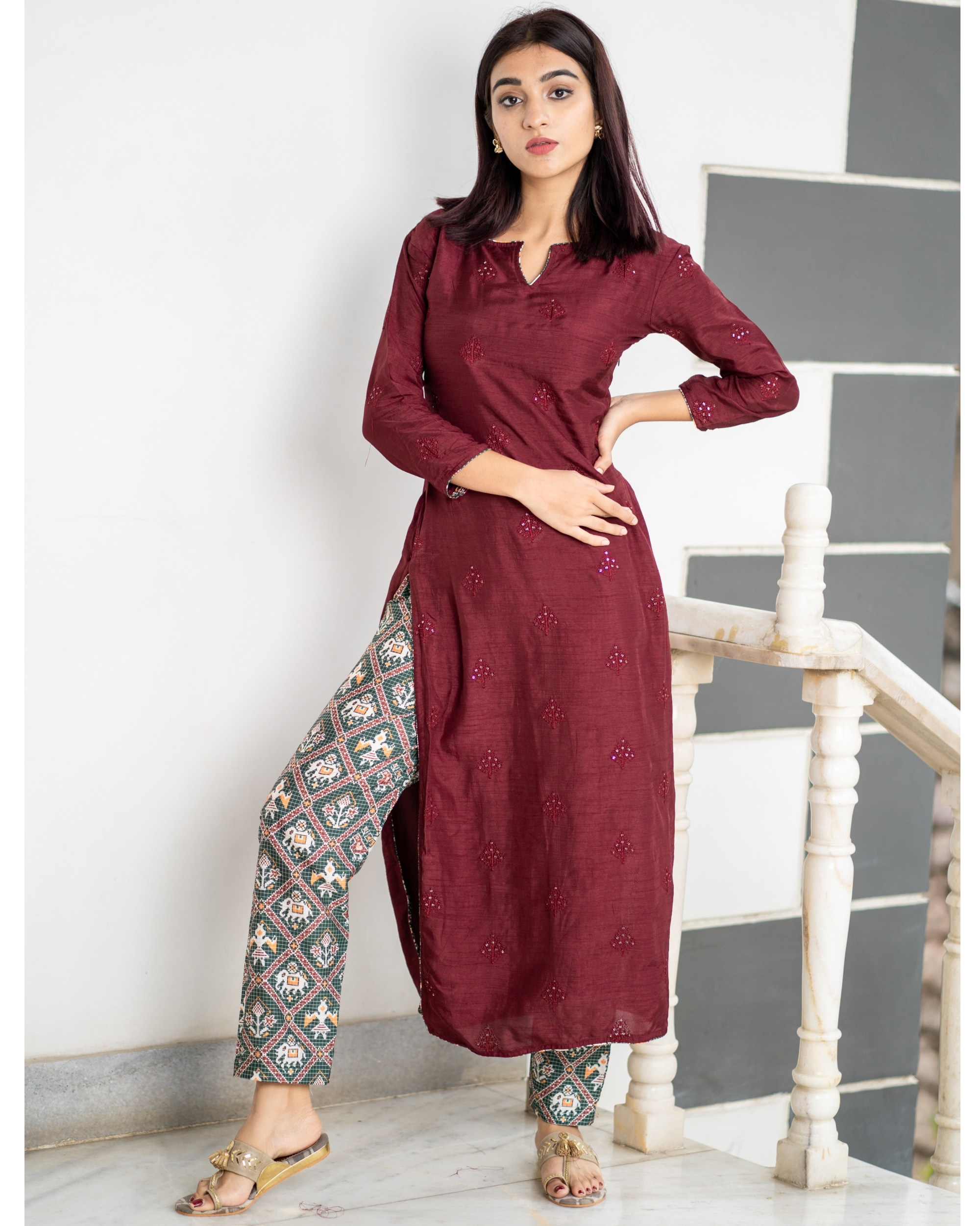 Maroon embroidered kurta with patola pants - set of two