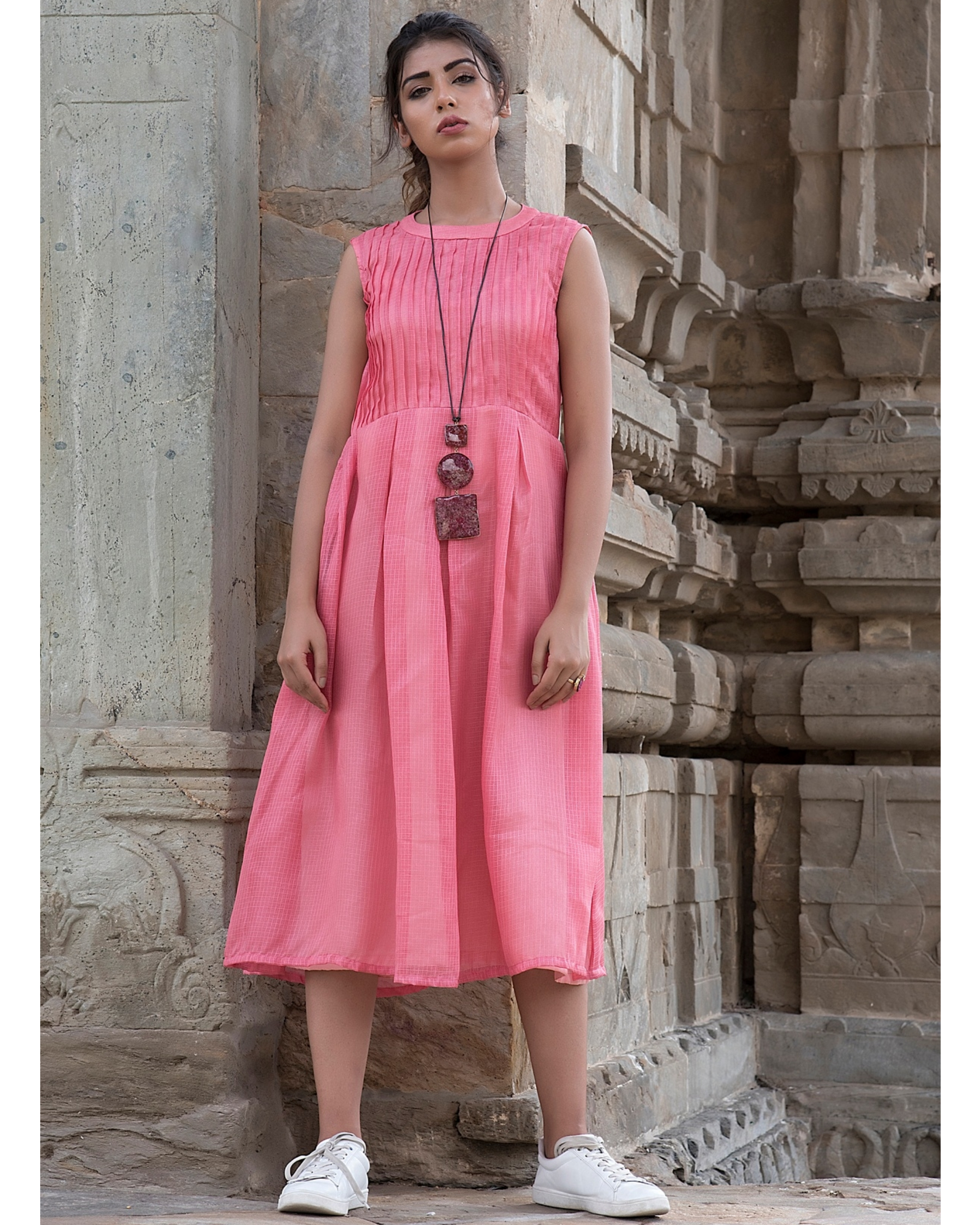 Peach pintexed sleeveless dress