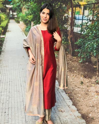 Details about  /Cotton Silk Foil Print /& Embrd Brown /& Green Trouser Set Banarasi Silk Dupatta