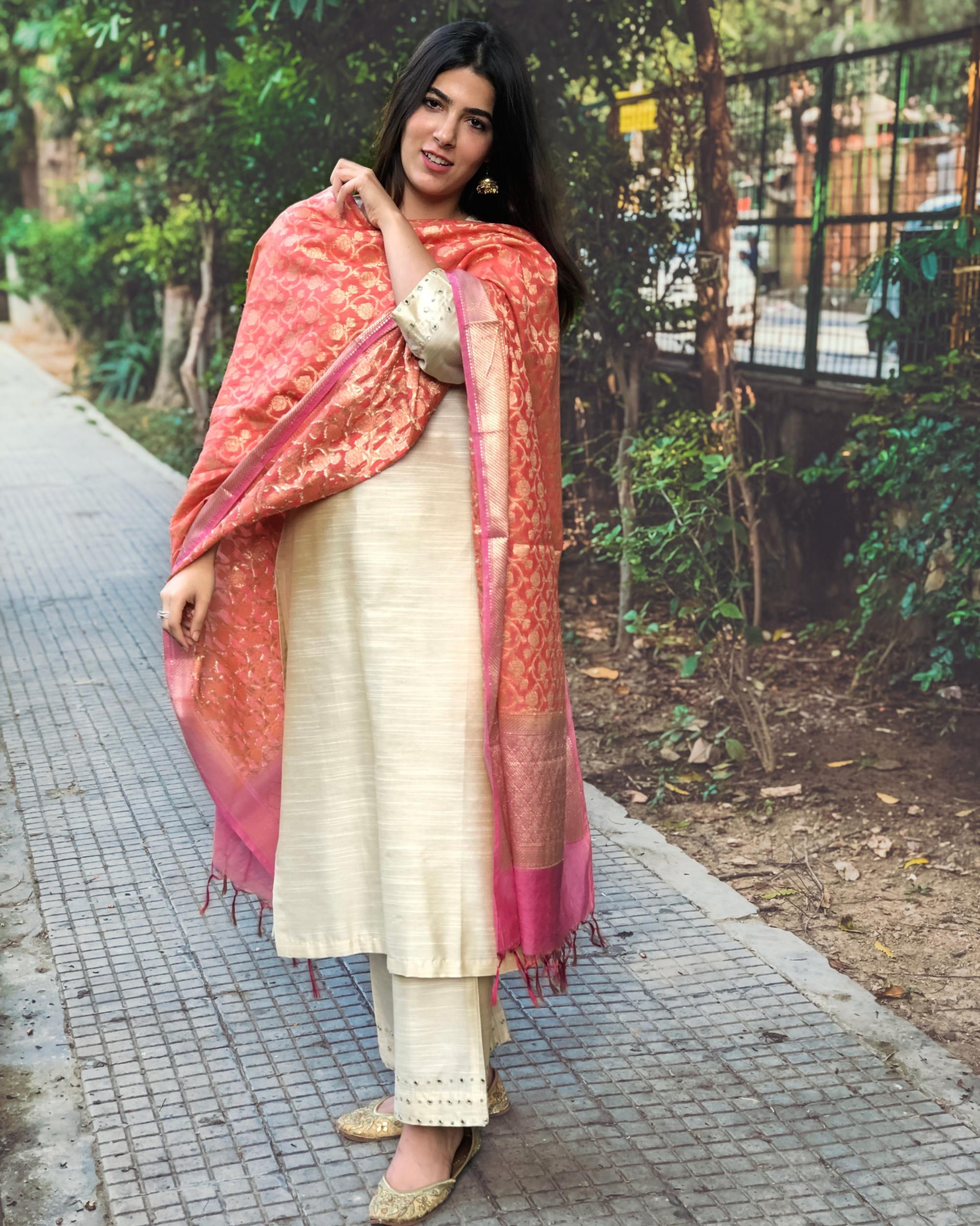 Beige cotton silk kurta set with  chanderi Benarasi dupatta - Set of three