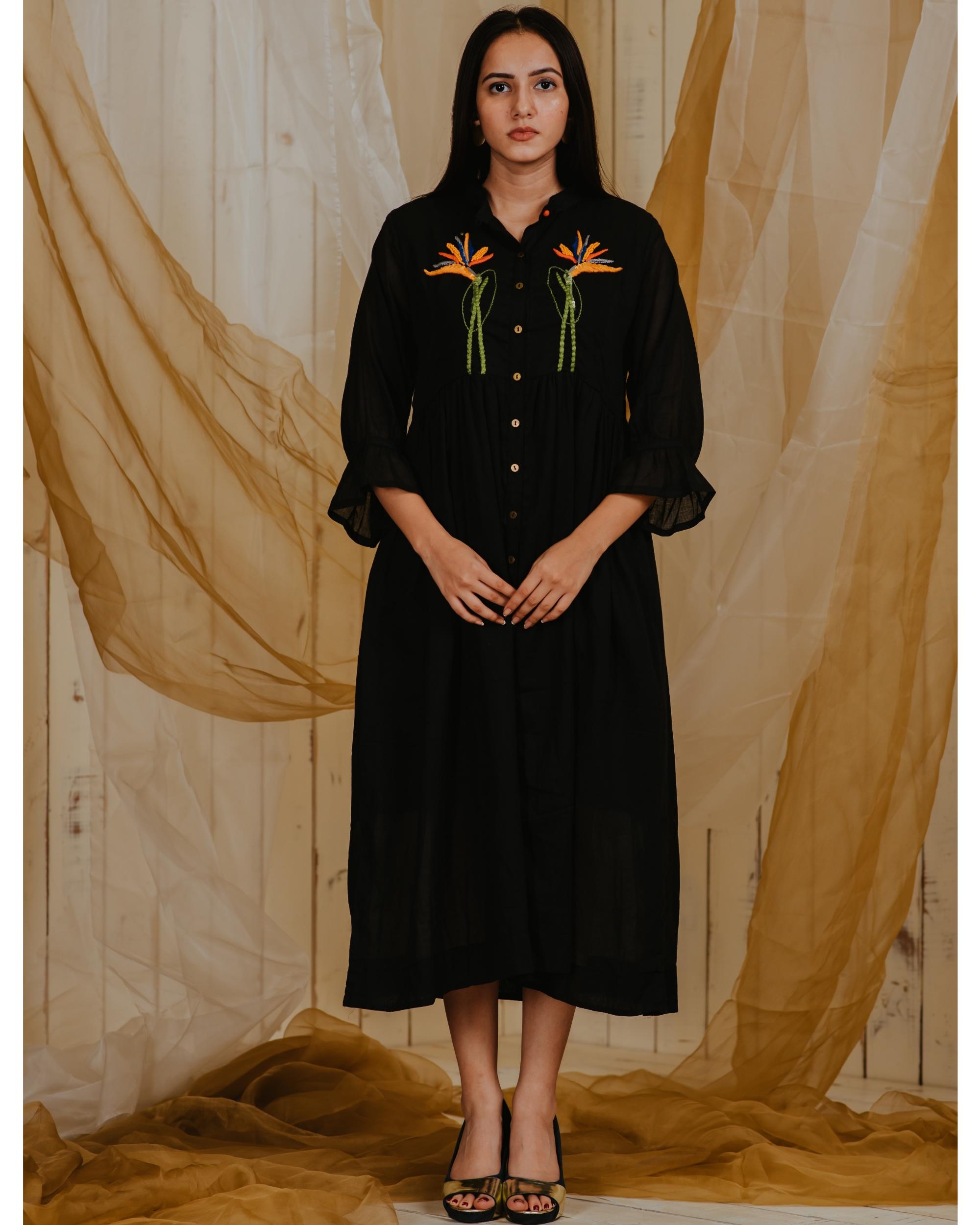 Black birds of paradise embroidered shirt dress